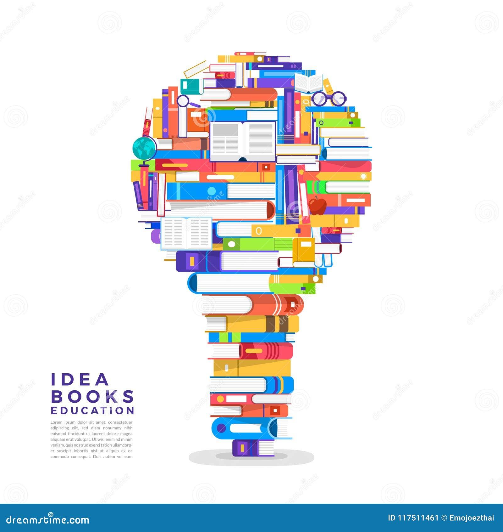 Flaches Konzept des Entwurfes das Buch ist eine Glühlampe Gründen Sie ein Buch zu I