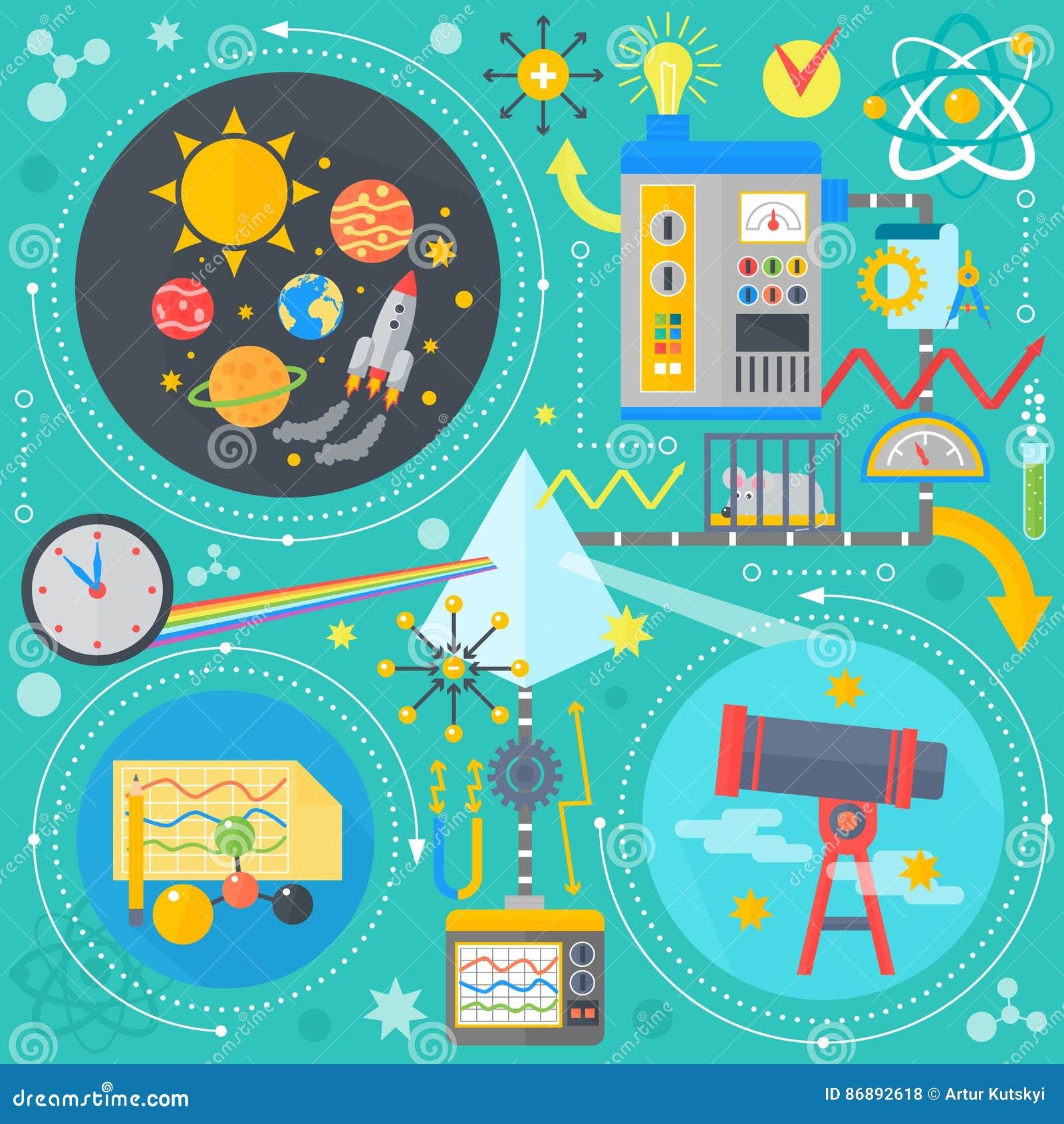 Flaches Konzept des Entwurfes des Wissenschaft und Technik Wissenschaftliche Forschung, chemisches Experiment infographics Konzep
