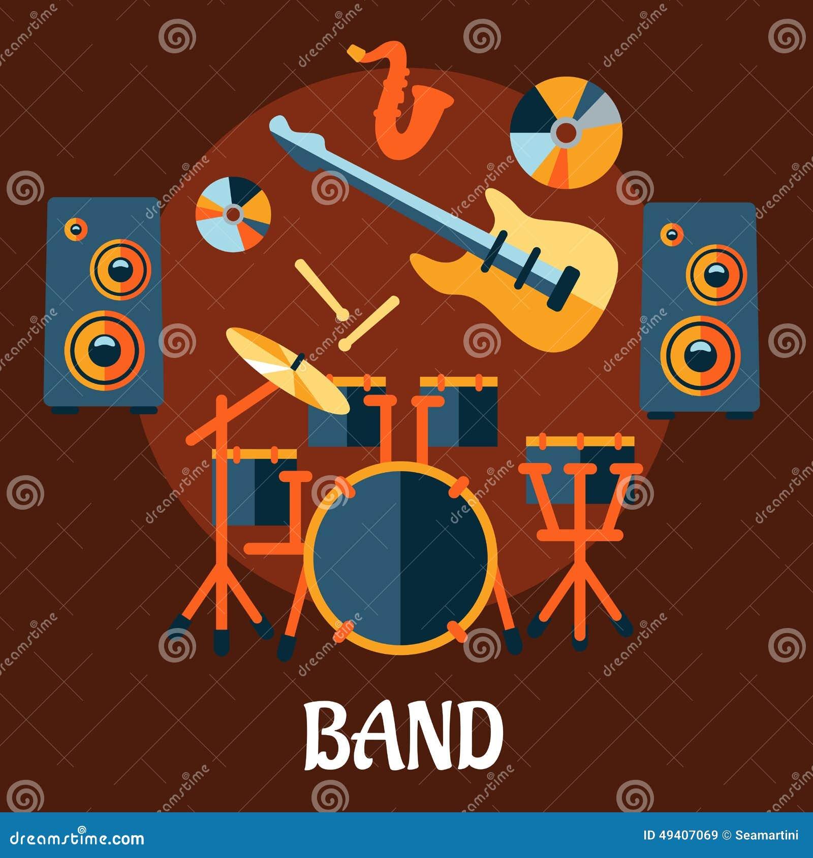 Download Flaches Musikalisches Bandinstrumentkonzept Vektor Abbildung - Illustration von elektrisch, phasen: 49407069