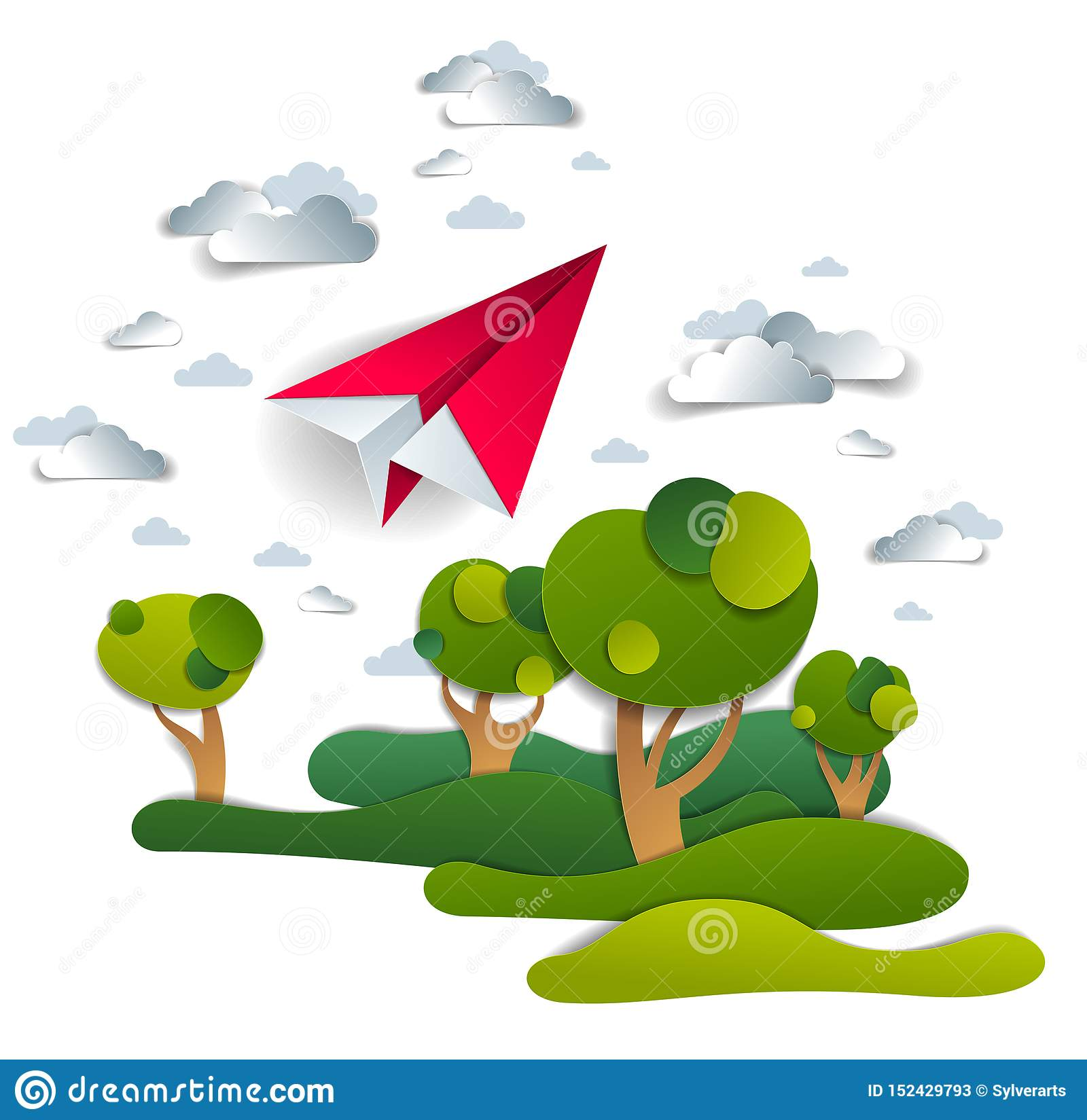 Flaches Spielzeugfliegen des Origamipapiers im Himmel ?ber Wiesen und B?umen, perfekte Vektorillustration der szenischen Naturlan