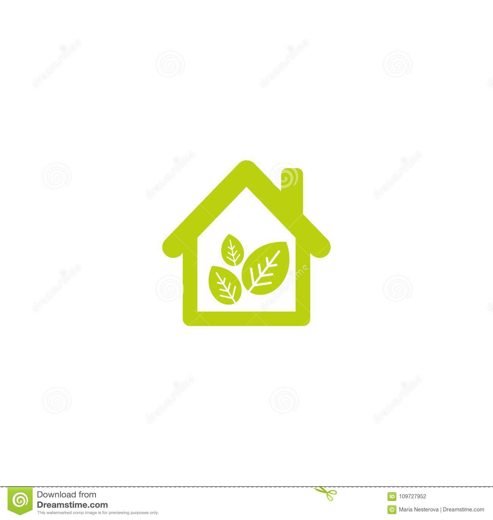 Flaches Umweltgerechtes Haus Mit Grünblättern Nach Innen Einfaches ...