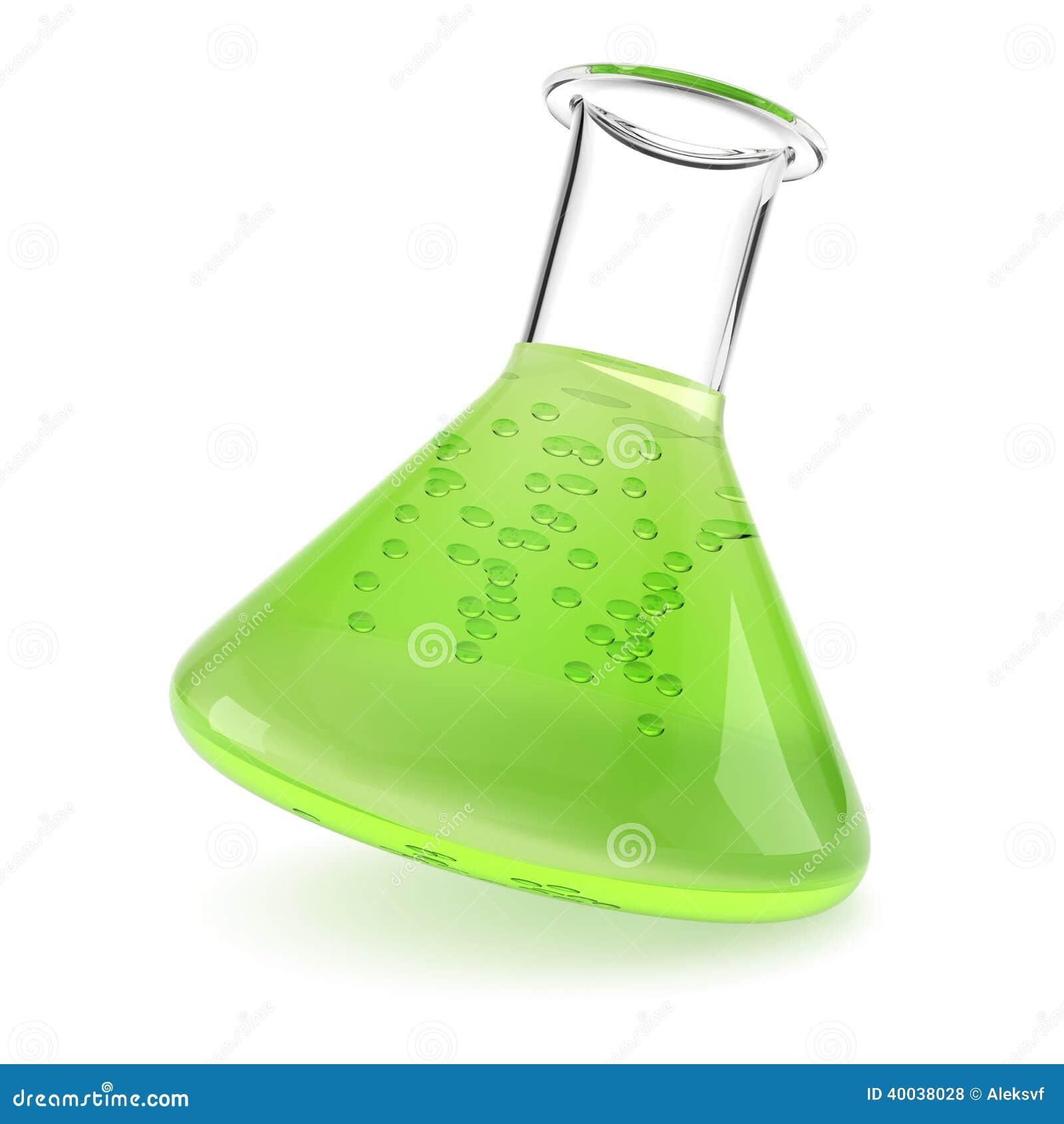 Flacon De Chimie Avec Le Liquide Vert Illustration Stock
