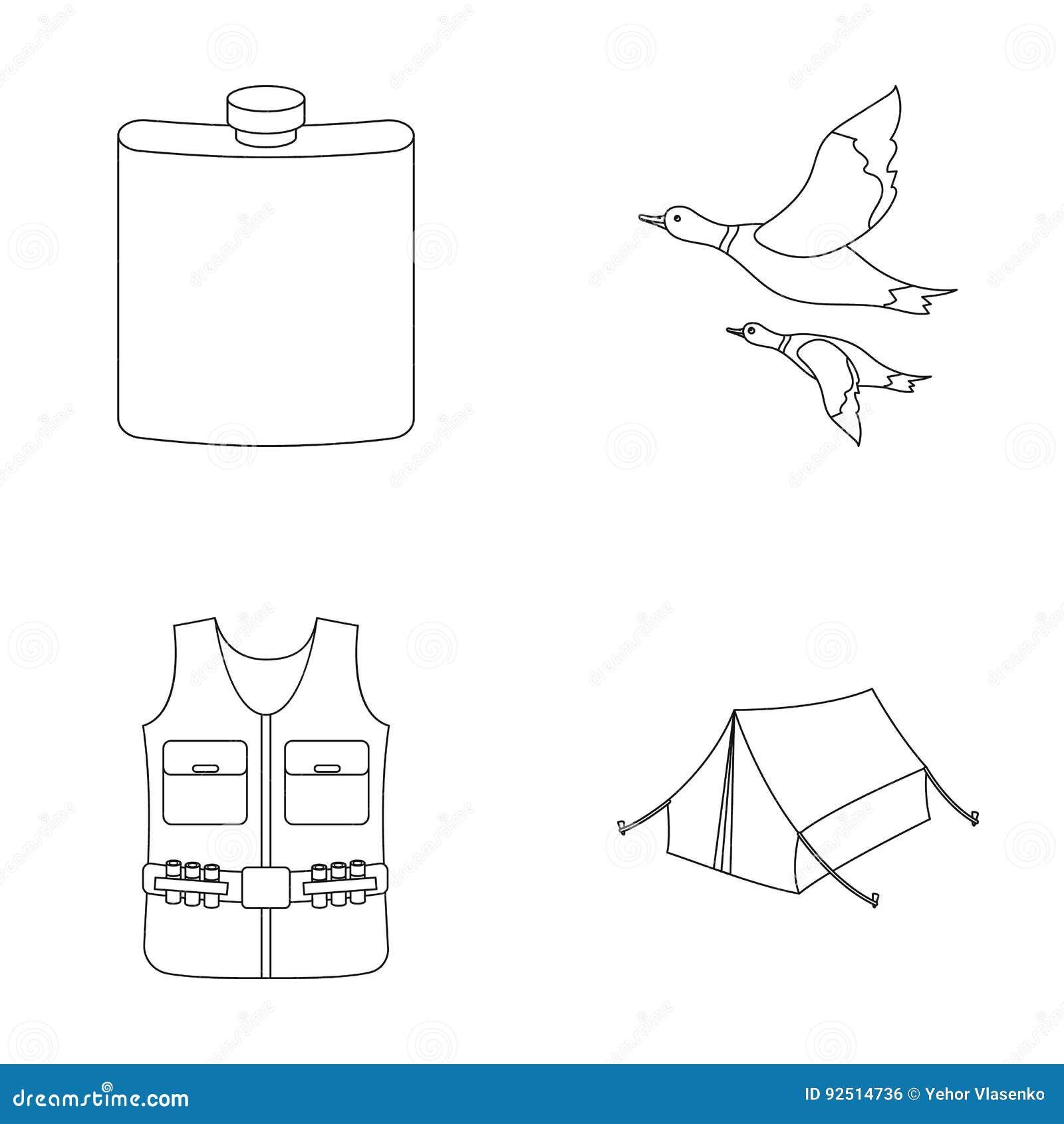 Flacon, gilet avec des cartouches, canards volants, tente En chassant les icônes réglées de collection dans le style d ensemble d