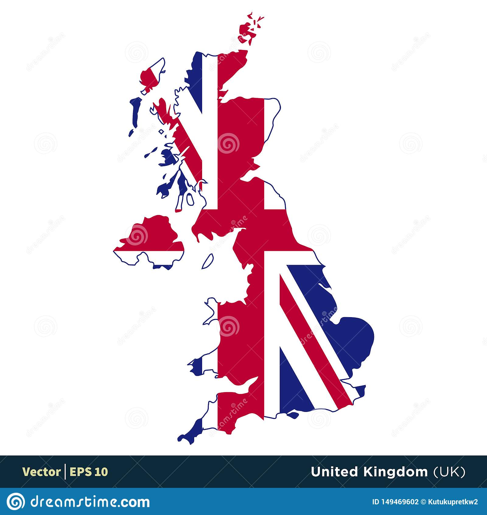 Map Of Uk Template.United Kingdom Uk Europe Countries Map And Flag Vector Icon