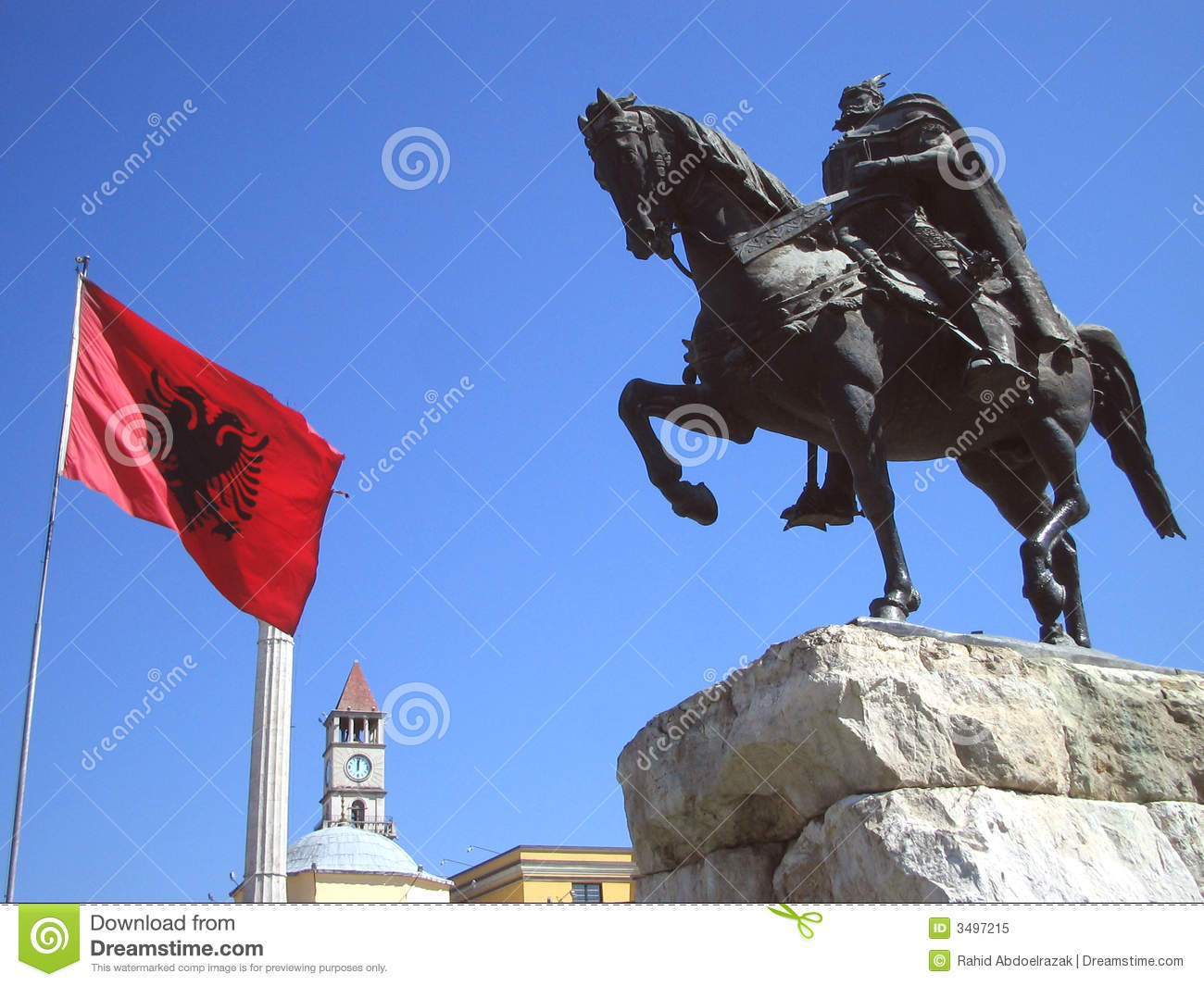 Flag of Albania and statue