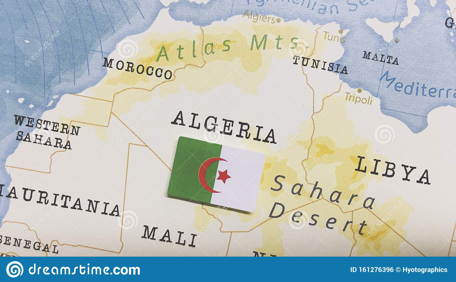 The Flag Of Algeria In The World Map Stock Photo - Image of ...