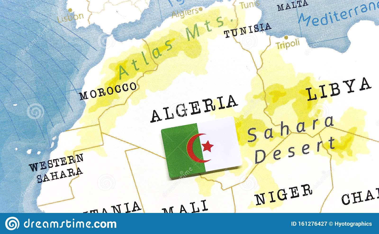 The Flag Of Algeria In The World Map Stock Image - Image of ...