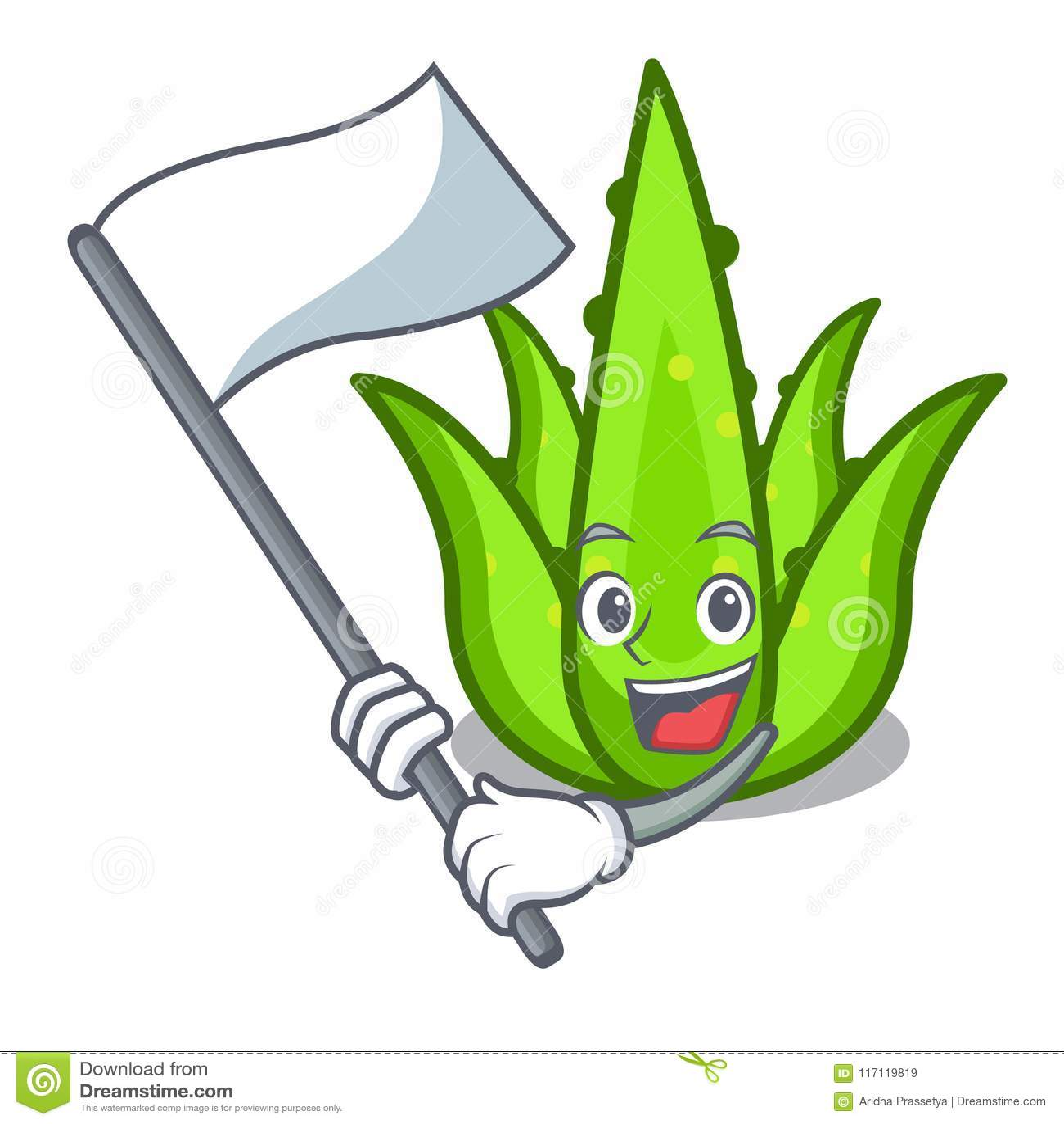 With flag aloevera mascot cartoon style