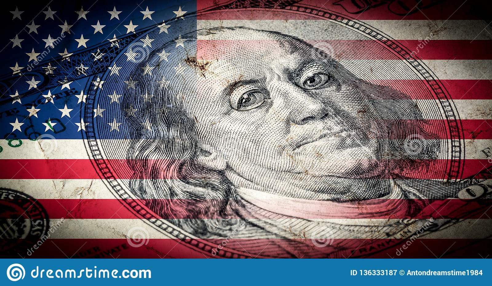 Flag of America with old grunge texture and portrait of Benjamin Franklin on one hundred dollars