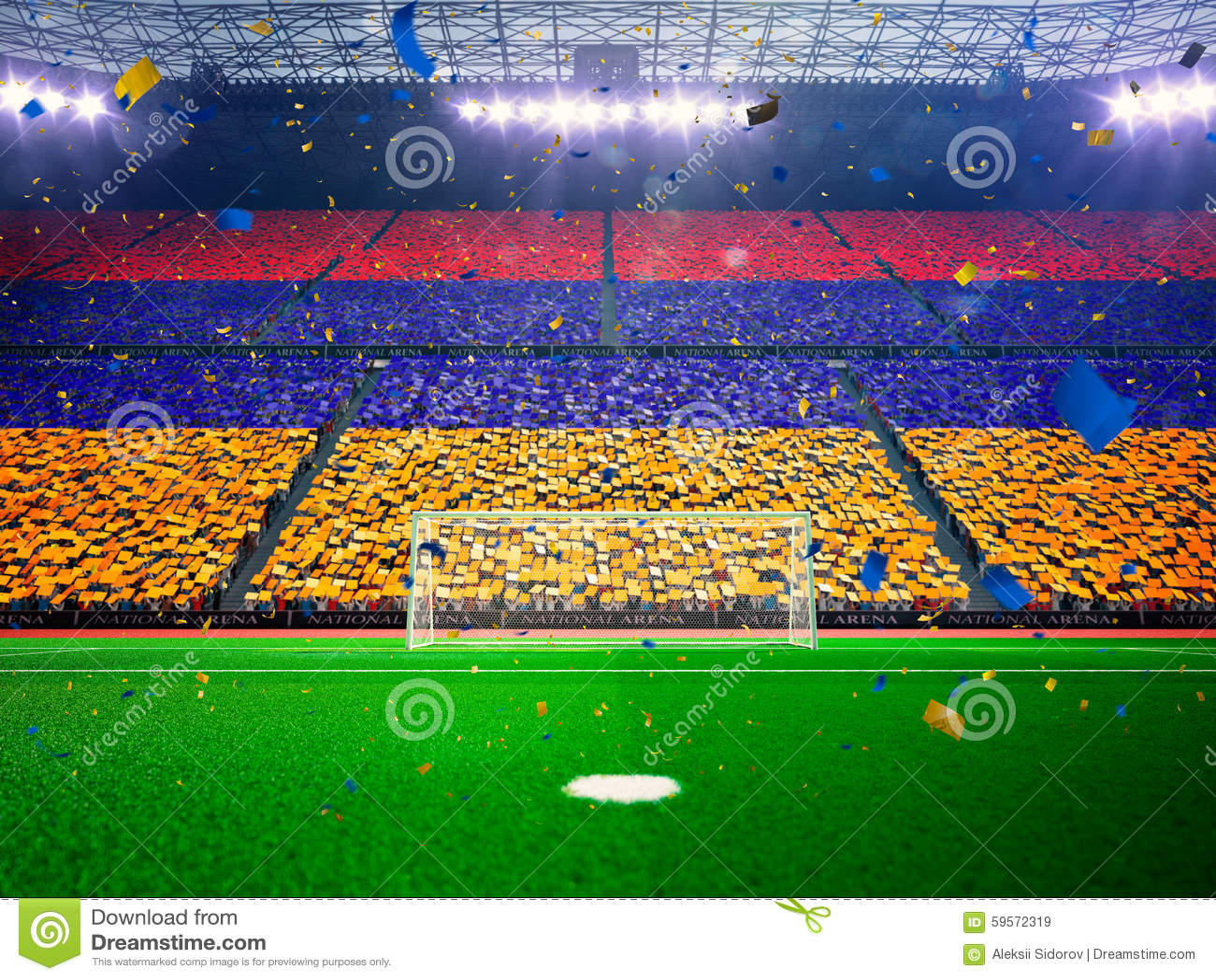 Flag Armenia of fans. Evening stadium arena Blue