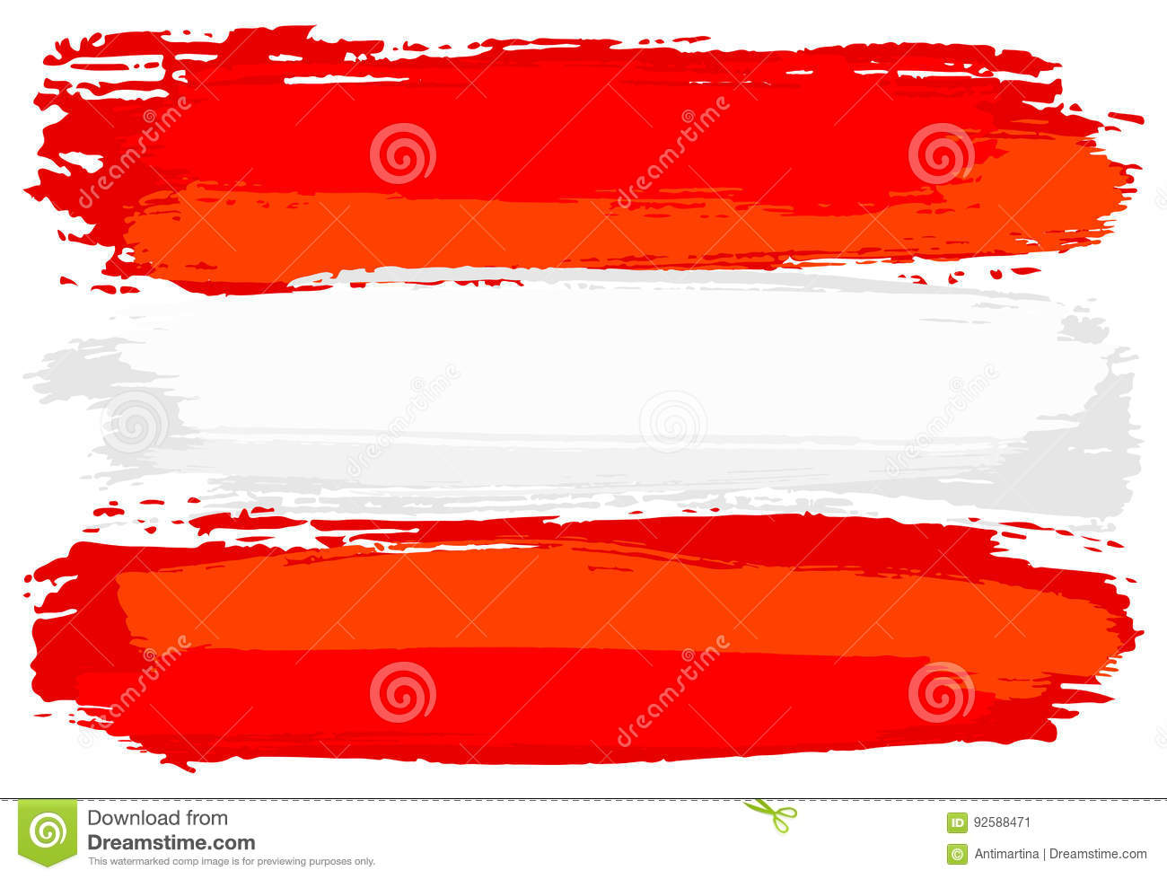 flag of austria painted with brush strokes stock vector
