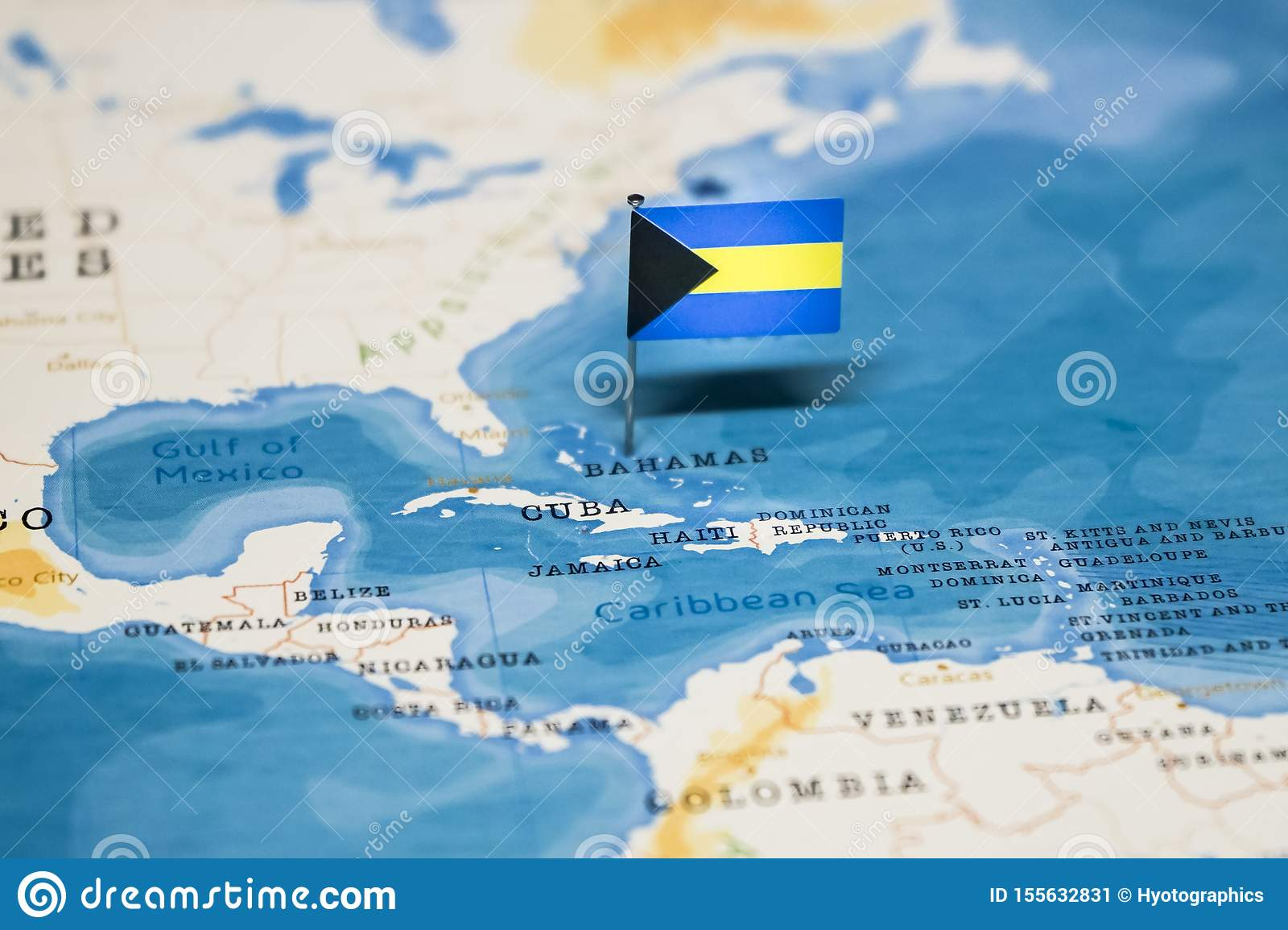 Picture of: The Flag Of Bahamas In The World Map Stock Image Image Of Education Nations 155632831