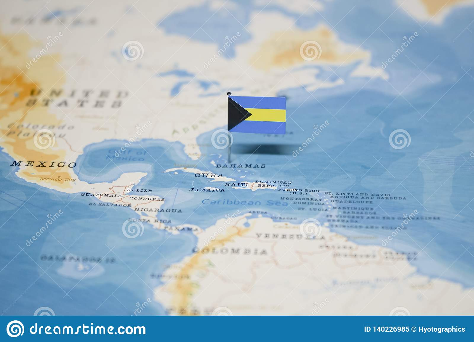 Picture of: The Flag Of Bahamas In The World Map Stock Image Image Of Location Destination 140226985