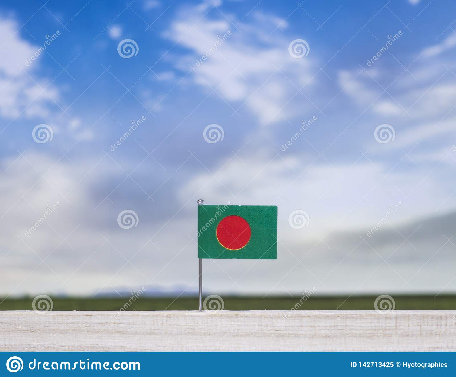 Flag of Bangladesh with vast meadow and blue sky behind it.