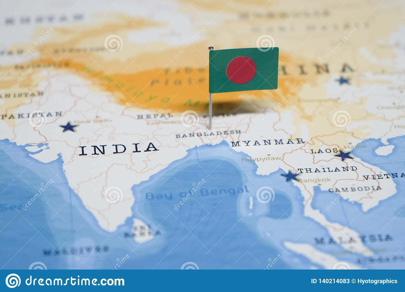 The Flag Of Bangladesh In The World Map Stock Image - Image ...