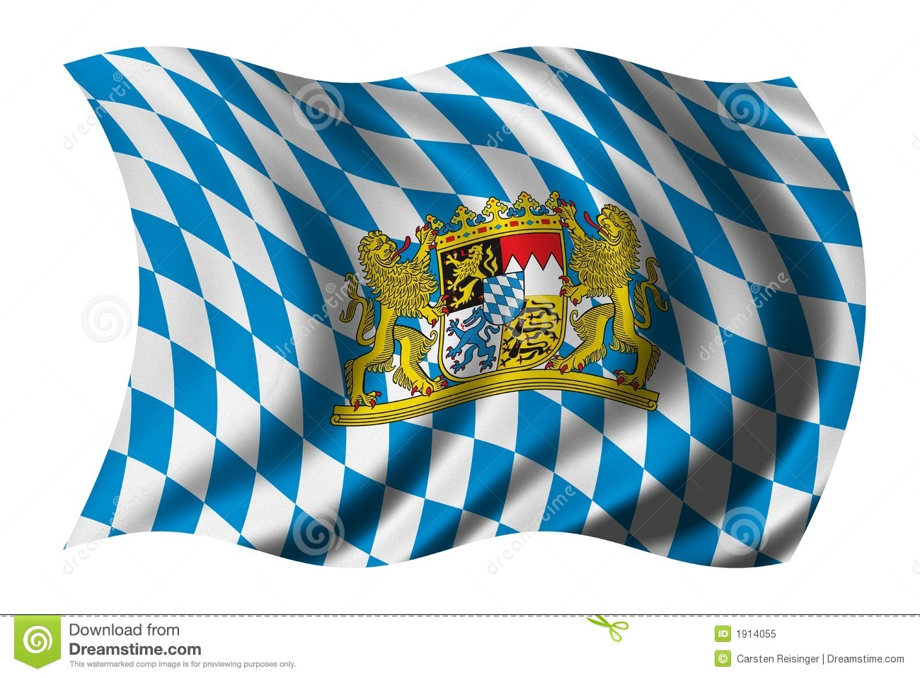 Flag of Bavaria waving in the wind - clipping path included.
