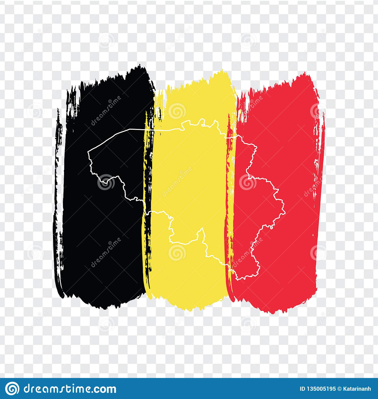 Flag Belgium From Brush Strokes And Blank Map Belgium ...