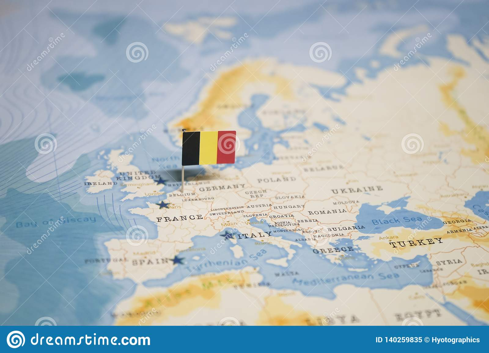 The Flag Of Belgium In The World Map Stock Image - Image of ...