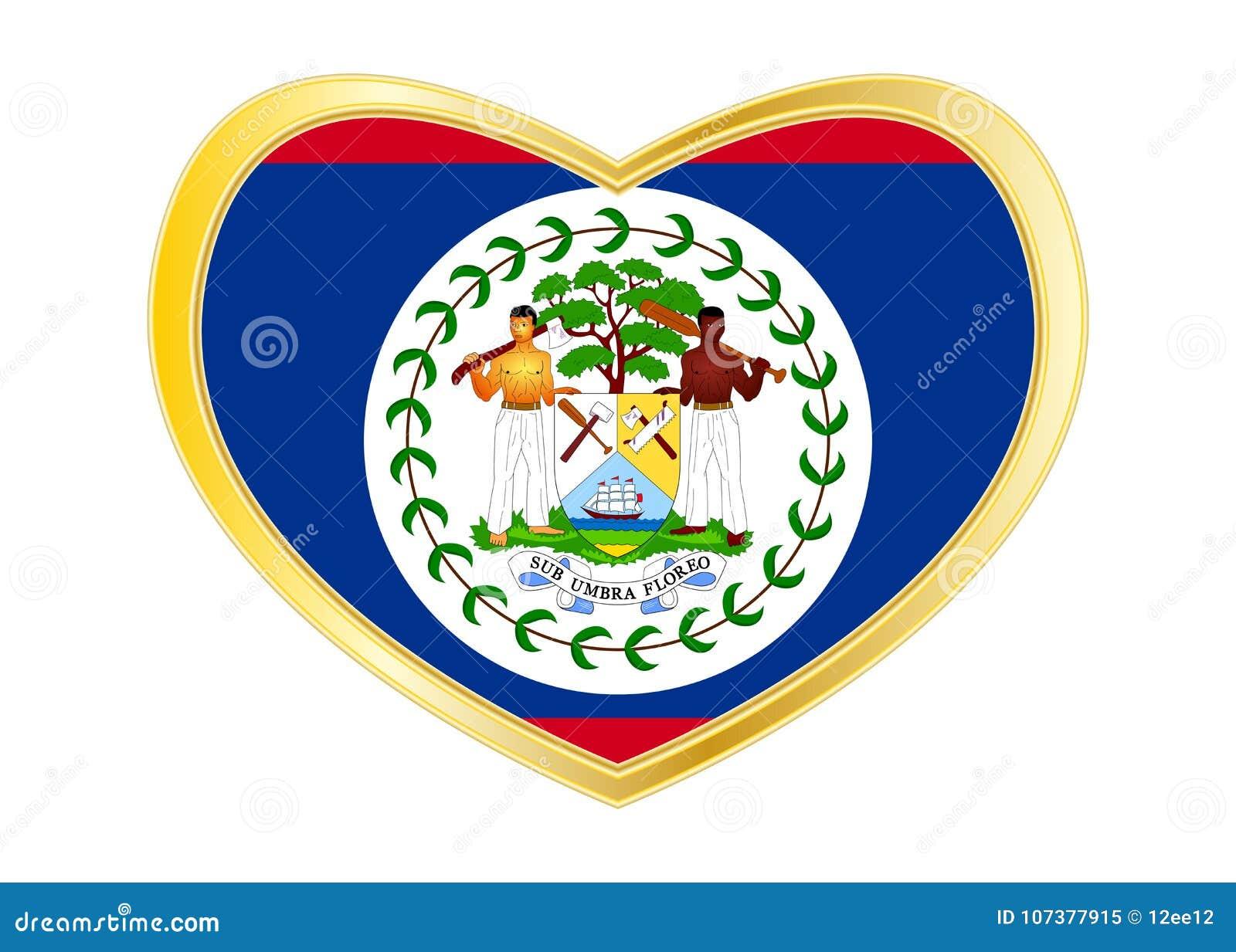 flag of belize in heart shape golden frame stock vector