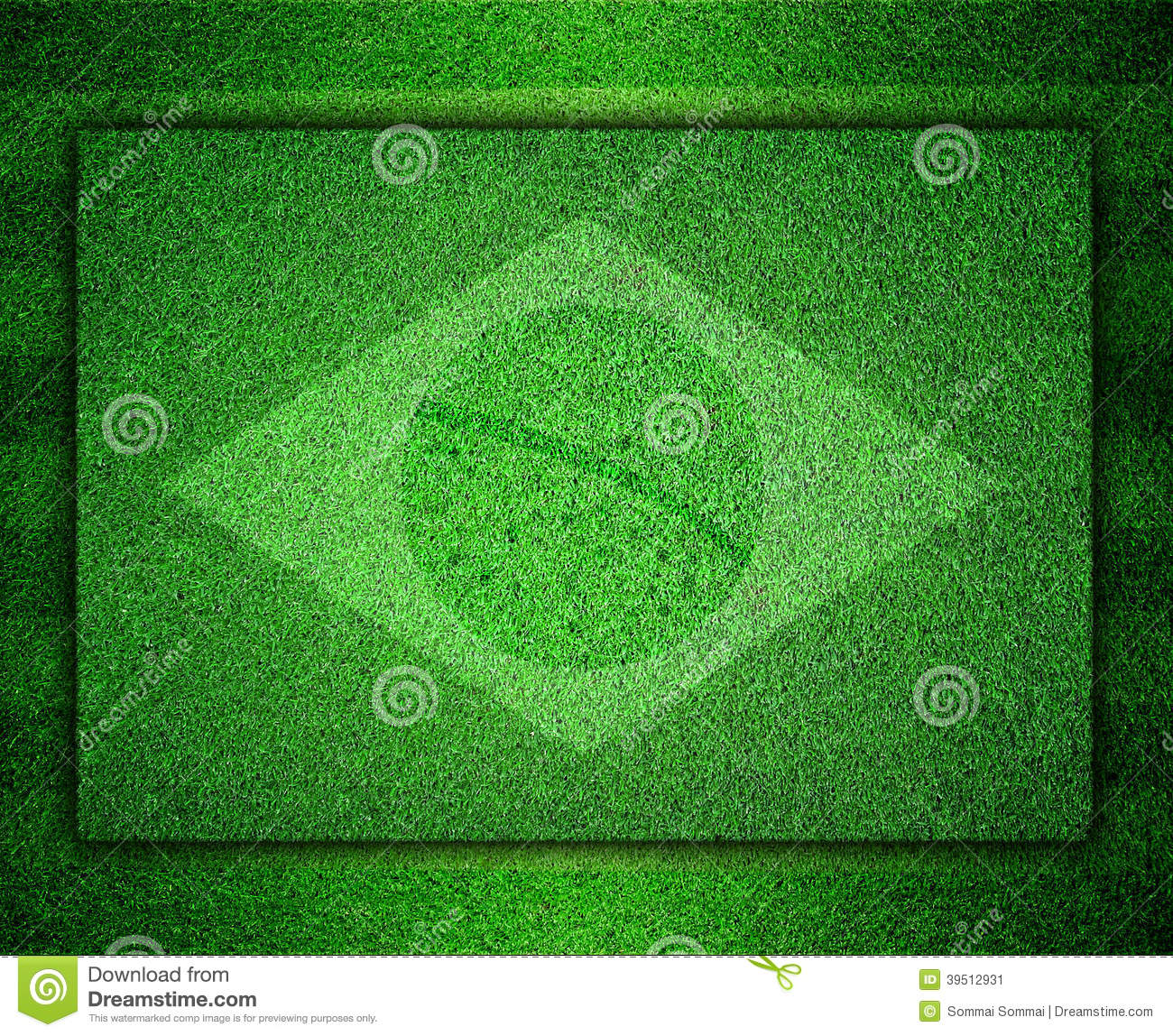 Flag of Brazil as a painting on grass