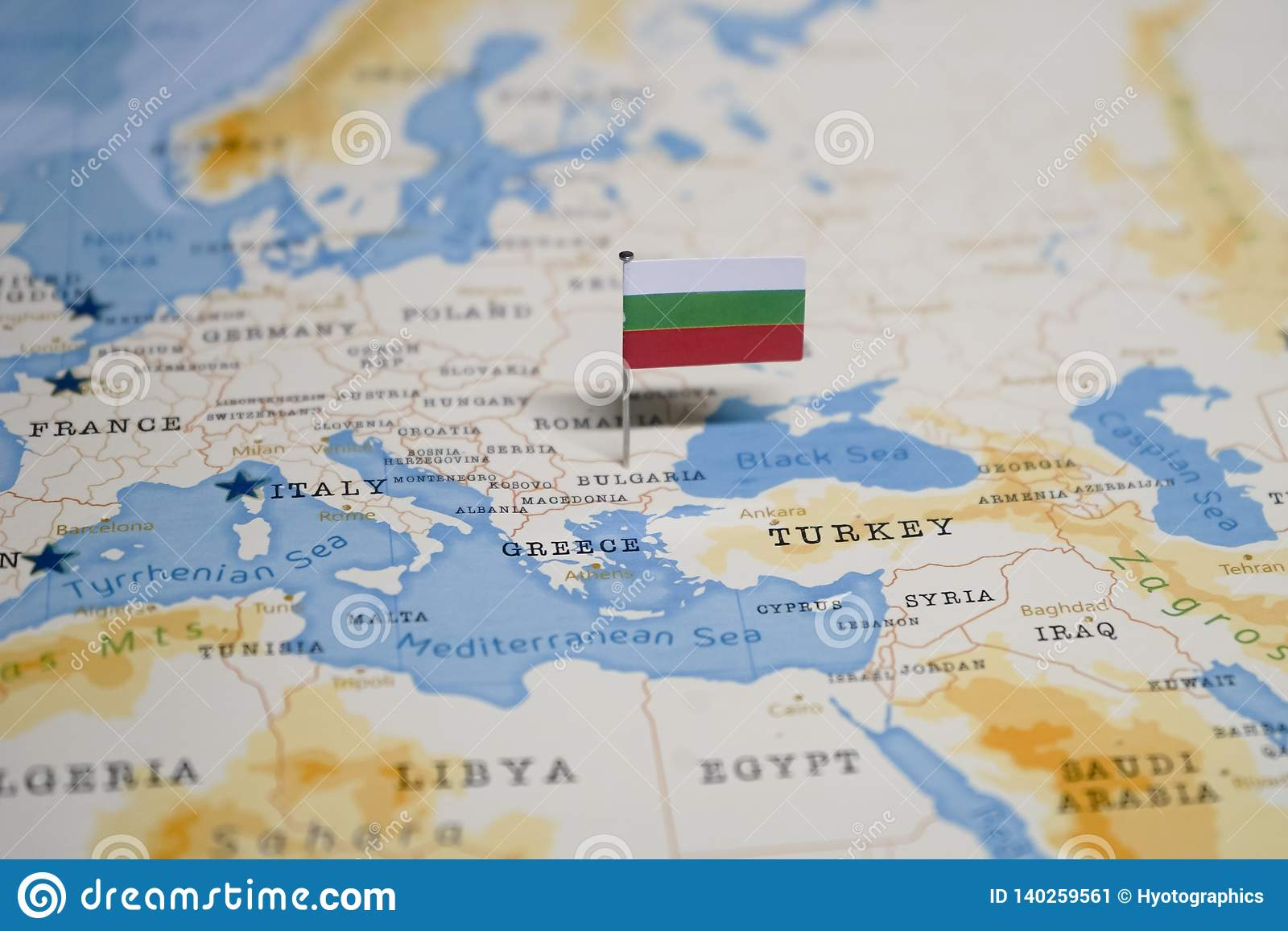 Picture of: The Flag Of Bulgaria In The World Map Stock Image Image Of International Country 140259561