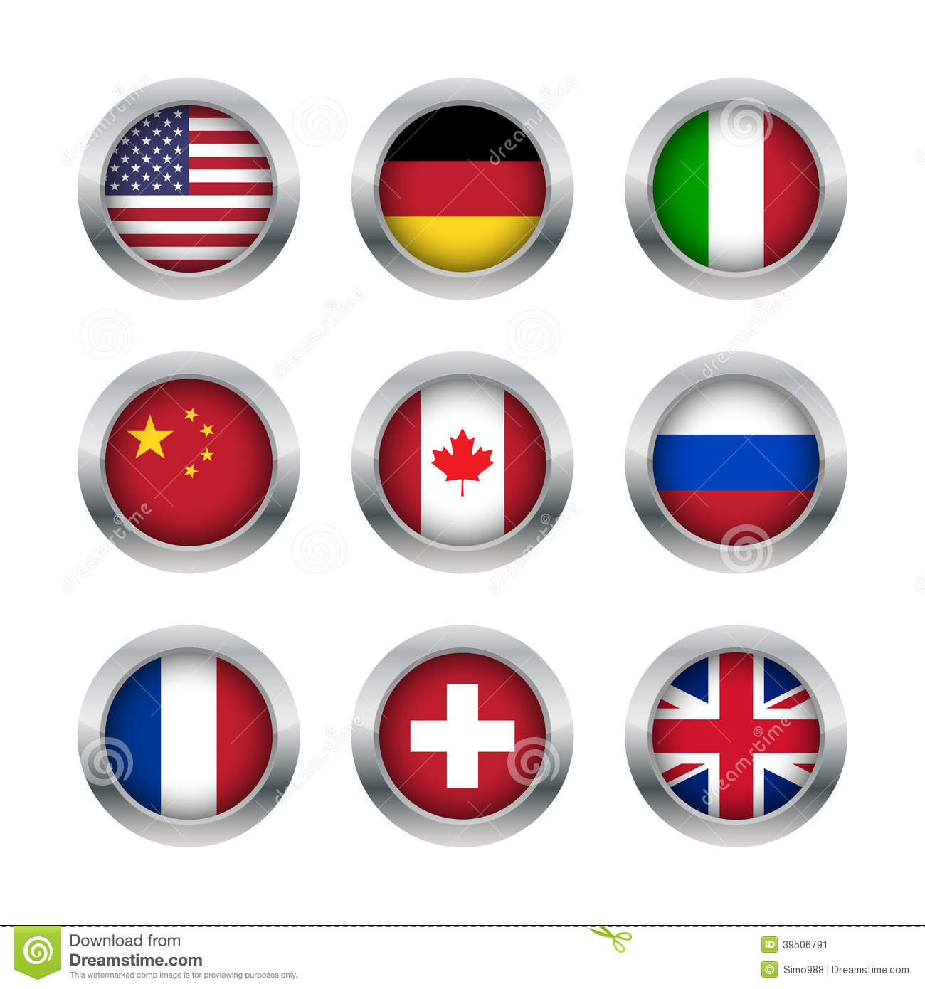 Flag buttons set 1
