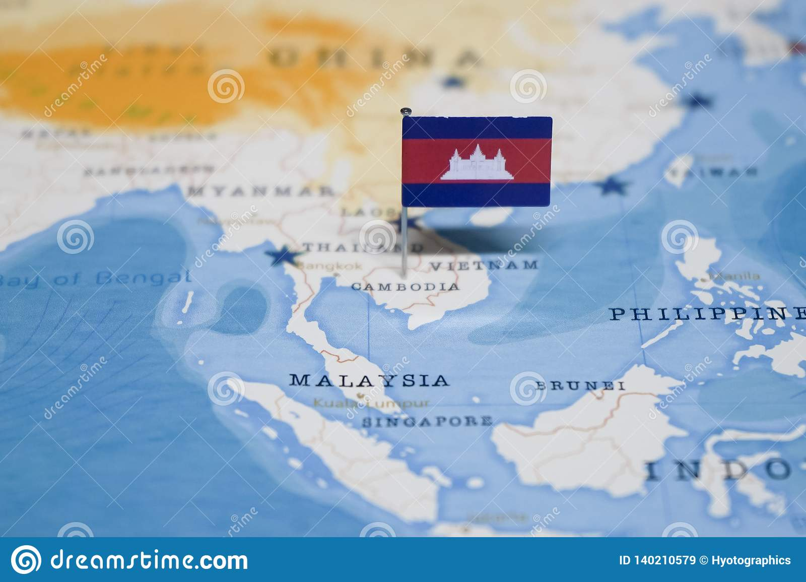 The Flag Of Cambodia In The World Map Stock Image - Image of ...