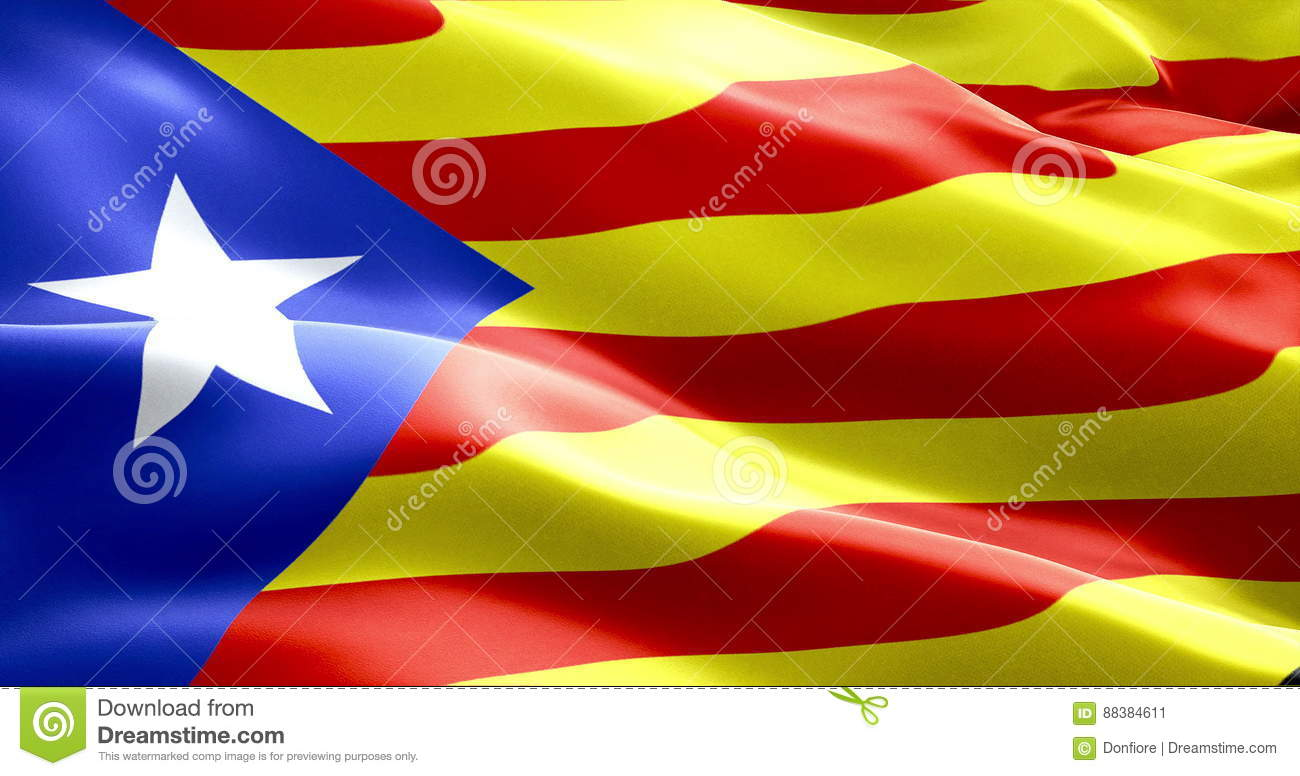 flag of catalonia yellow and red strip with star waving texture