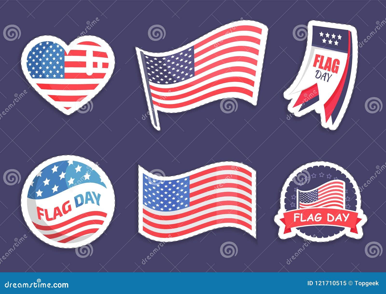 Flag Celebration Collection Vector Illustration Stock Vector
