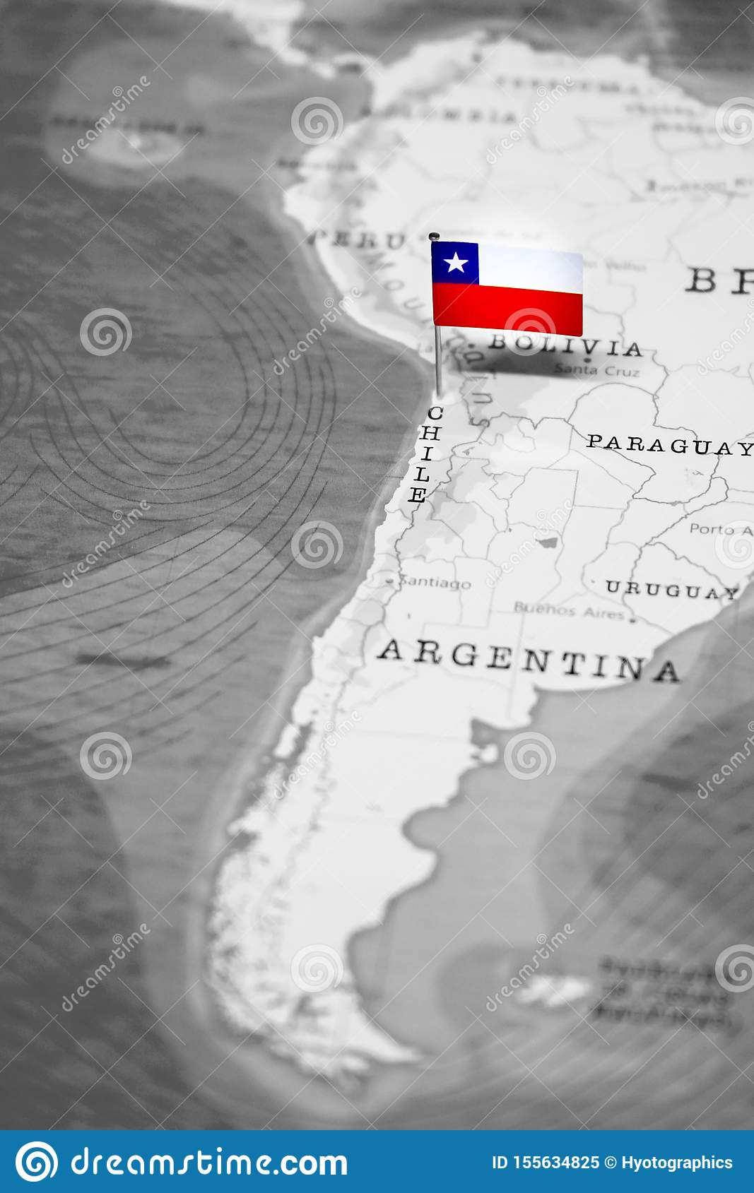 The Flag of Chile in the World Map
