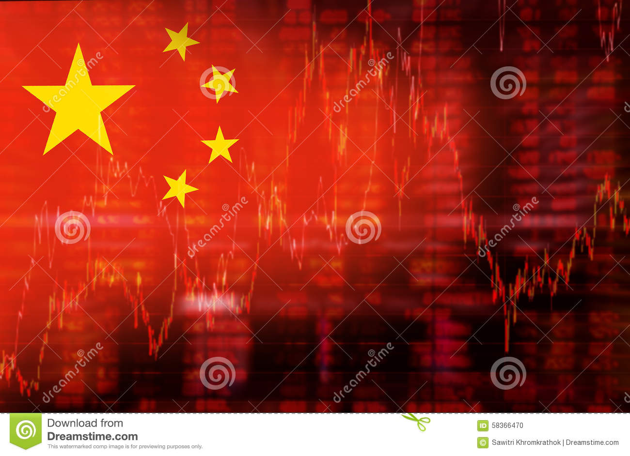 Flag of China downtrend stock diagram
