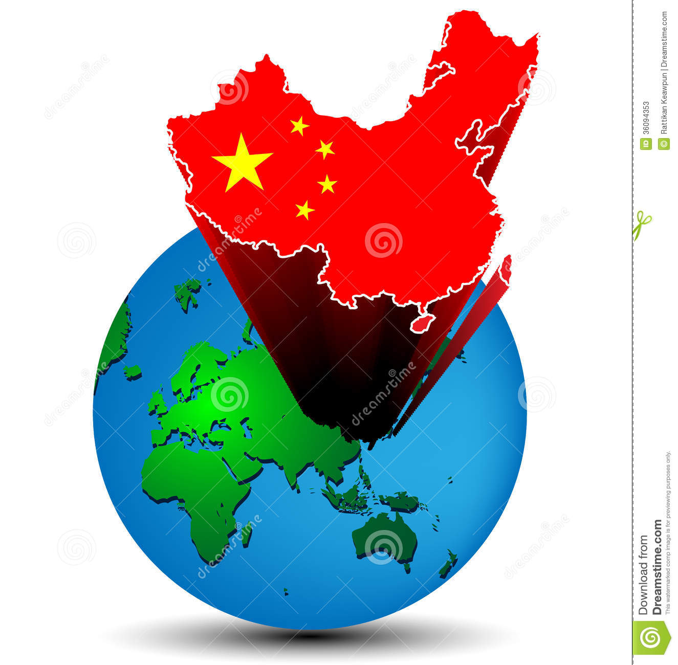 flag china map on the earth stock vector image 36094353. Black Bedroom Furniture Sets. Home Design Ideas