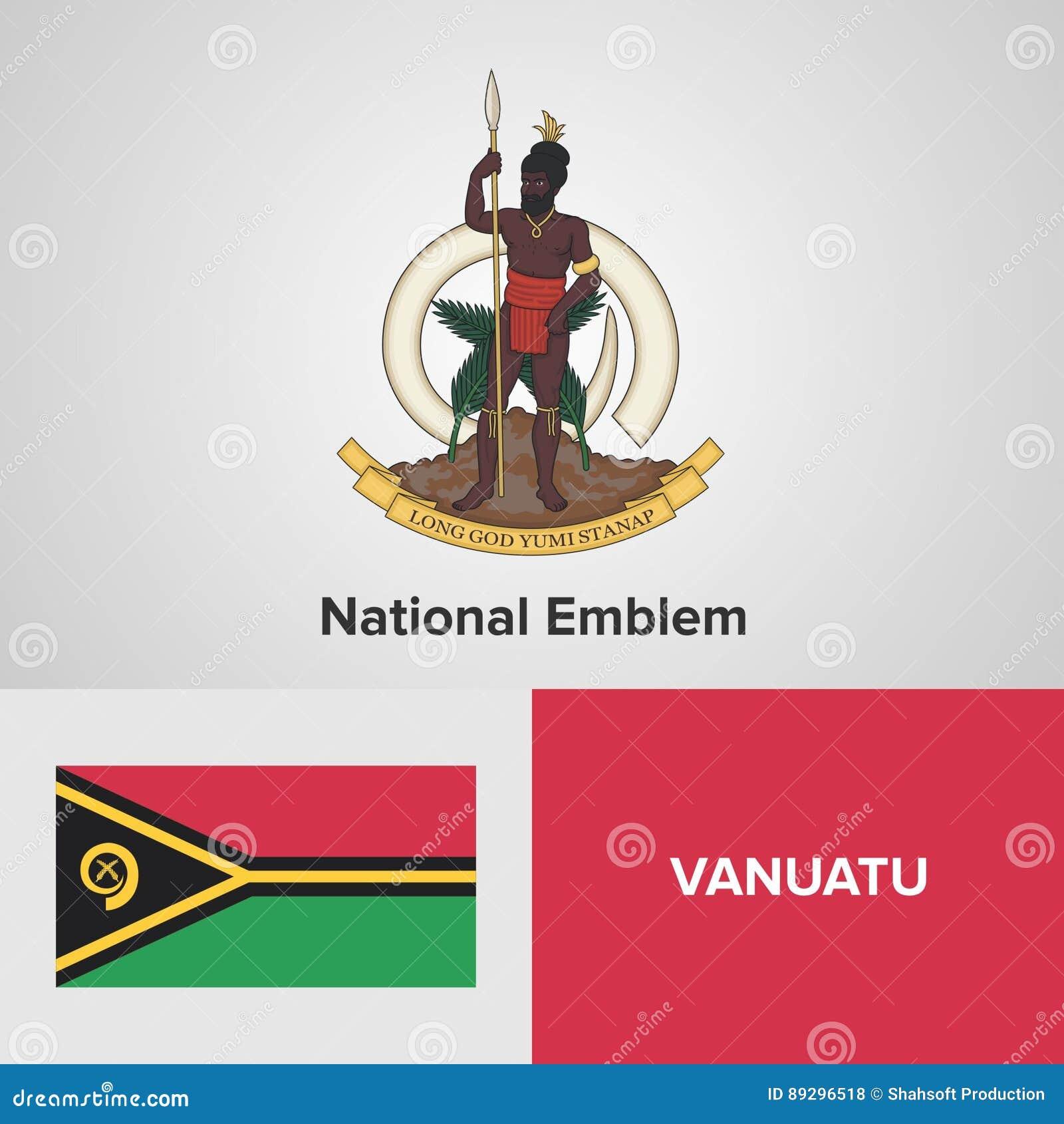 Flag And Coat Of Arms On Vanuatu Stock Illustration
