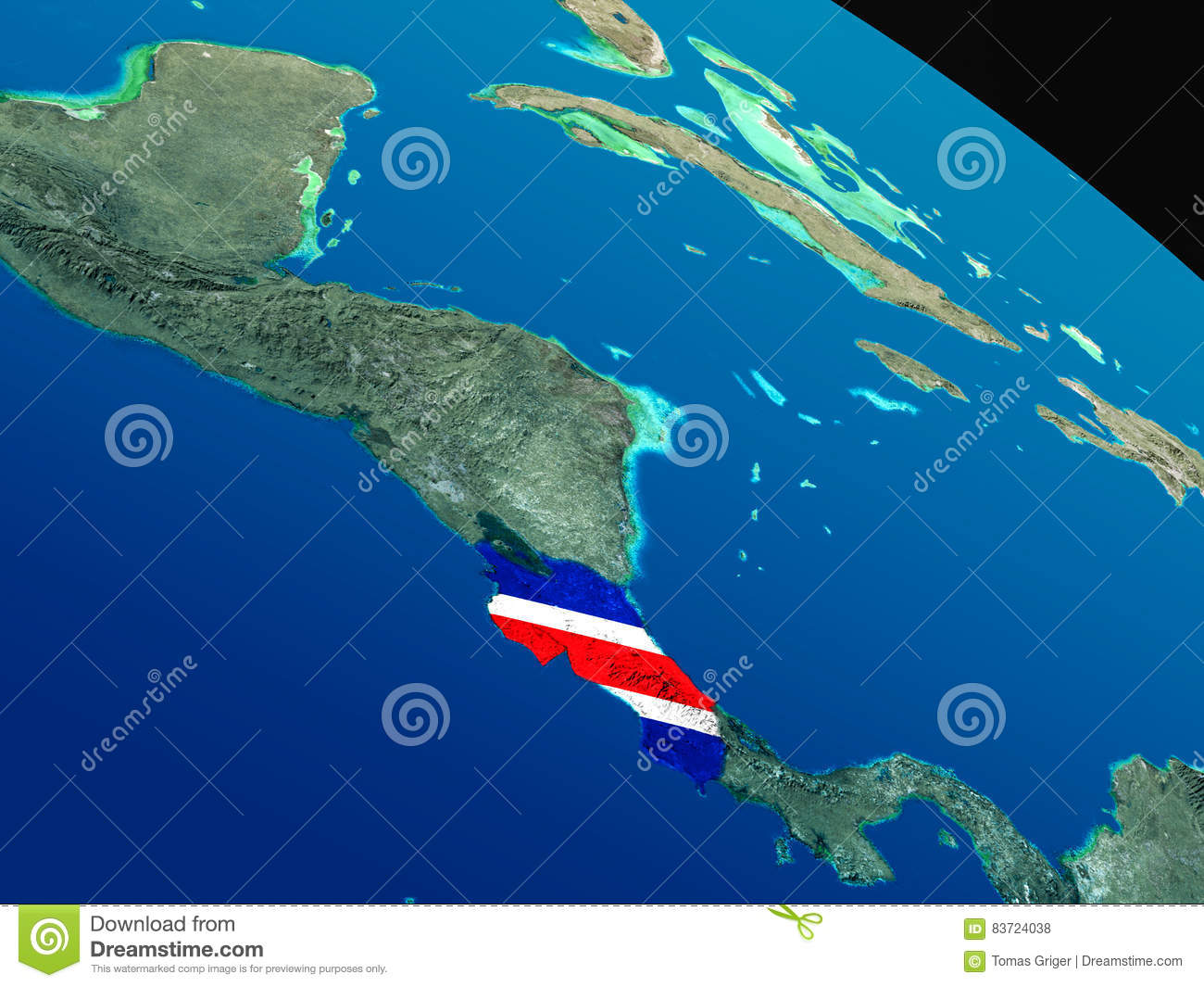 Flag Of Costa Rica From Space Stock Illustration