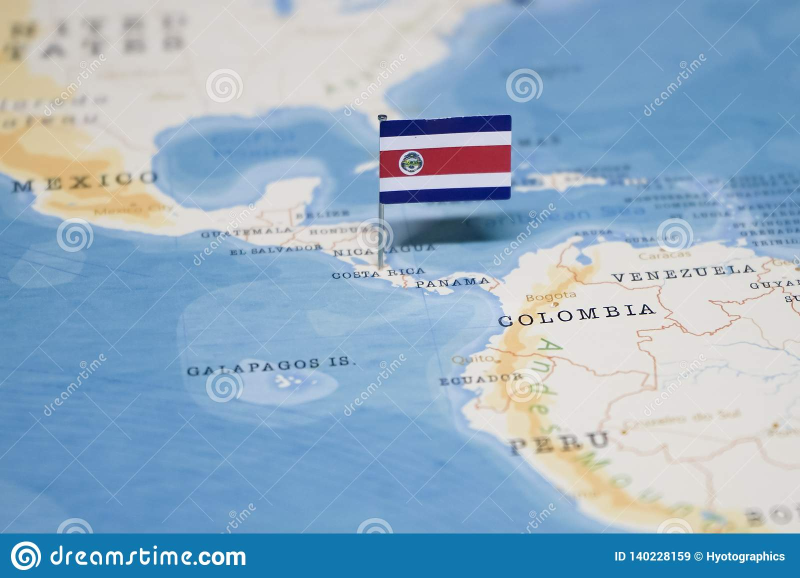 The Flag Of Costa Rica In The World Map Stock Image - Image ...
