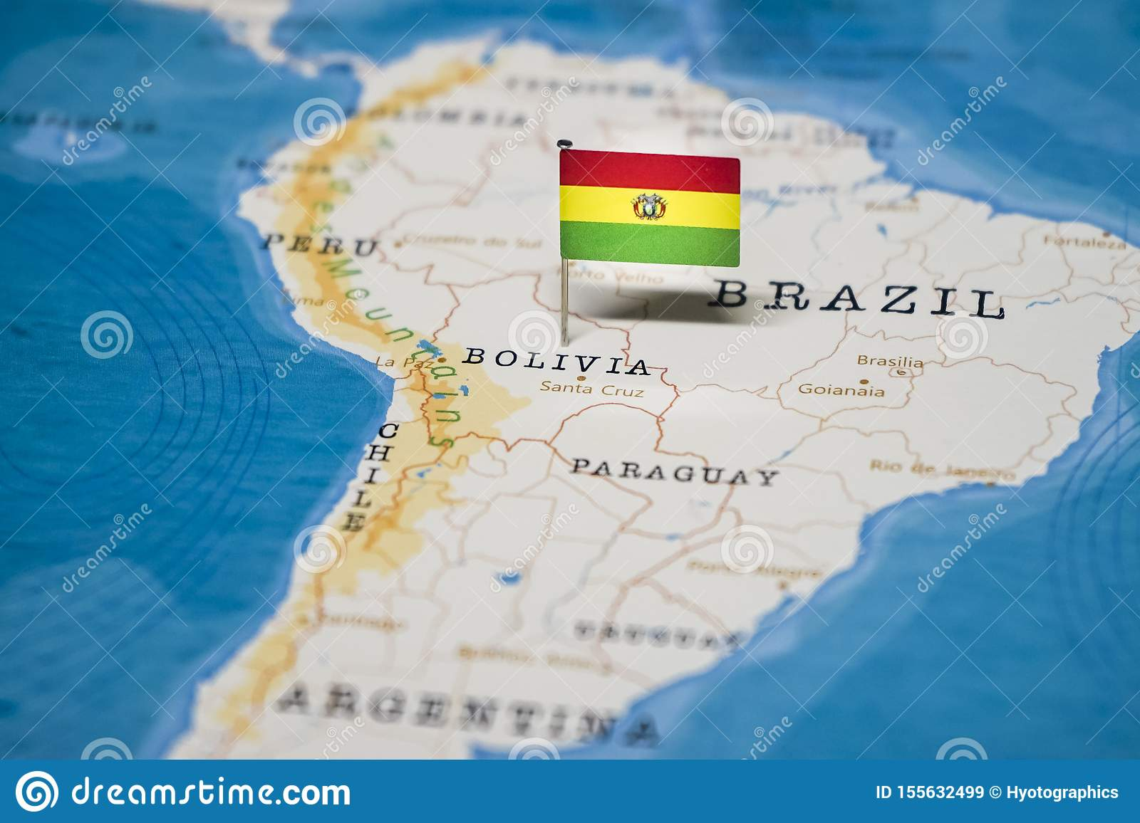 Picture of: The Flag Of Bolivia In The World Map Stock Image Image Of Holiday Country 155632499