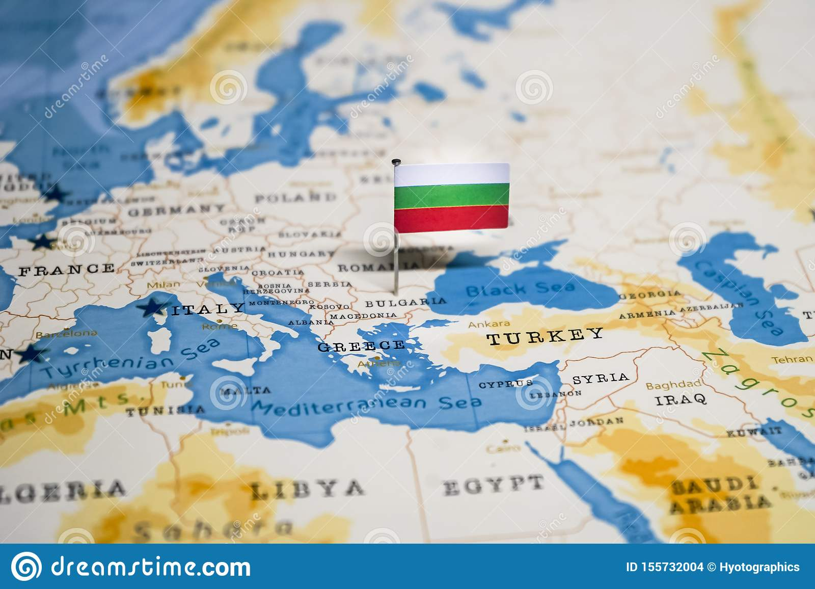 Picture of: The Flag Of Bulgaria In The World Map Stock Photo Image Of Country Atlas 155732004