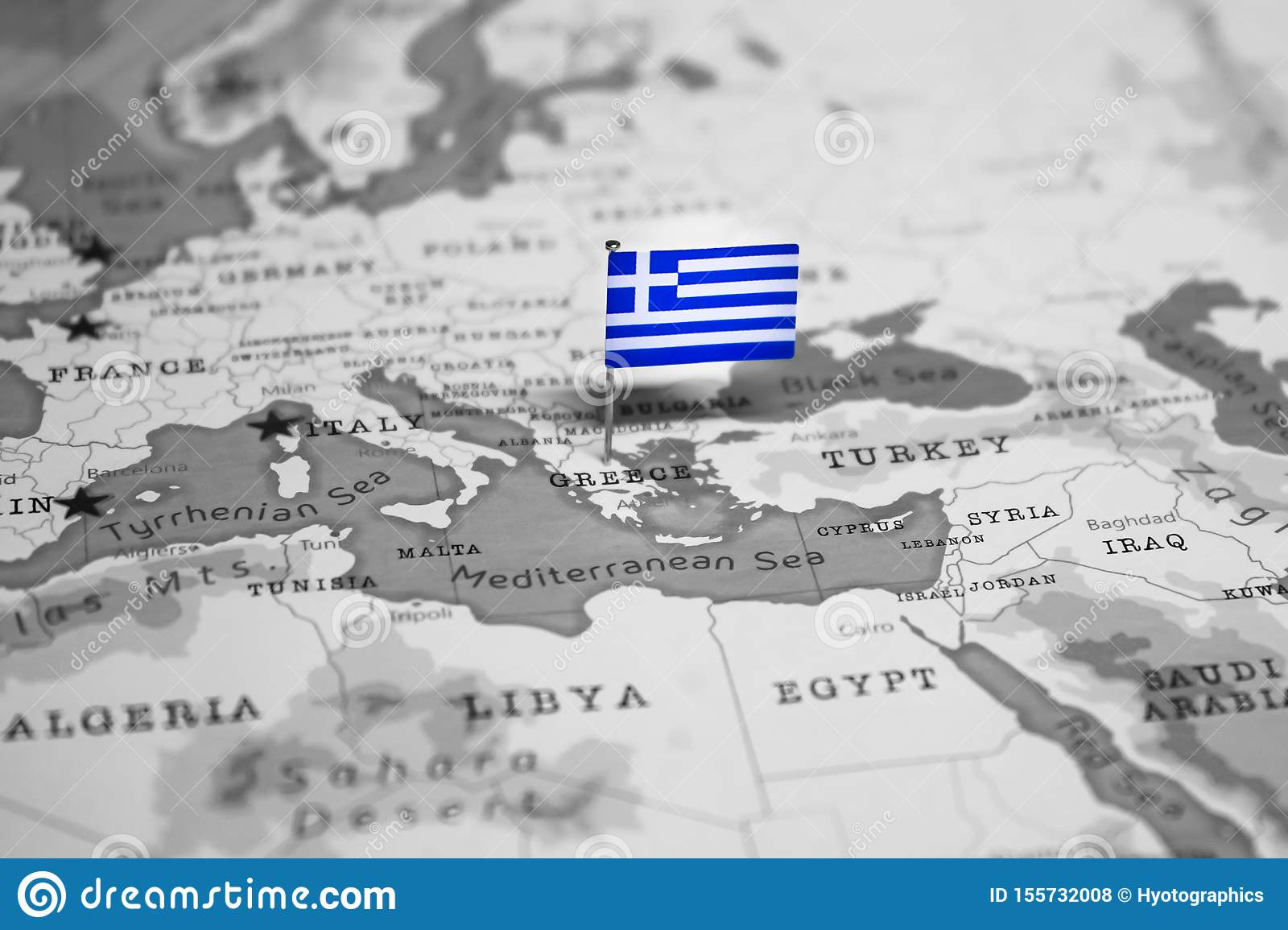 The Flag Of Greece In The World Map Stock Photo - Image of ...
