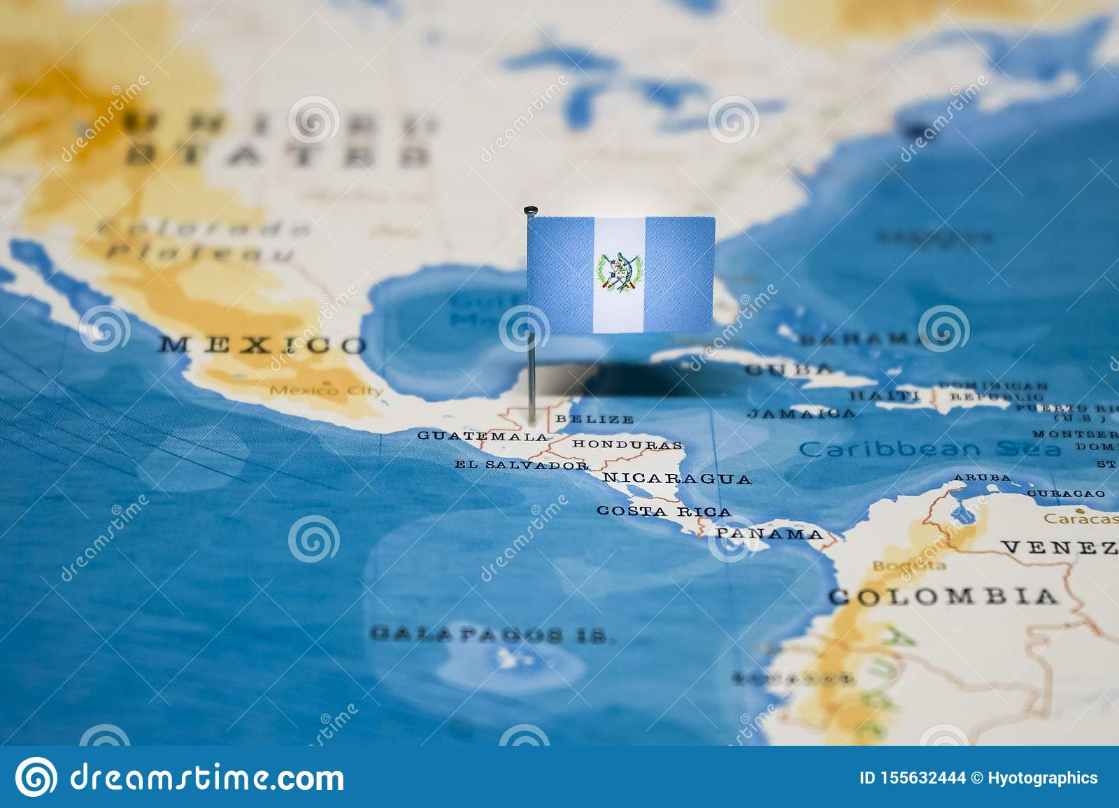 Picture of: The Flag Of Guatemala In The World Map Stock Photo Image Of Geography Holiday 155632444