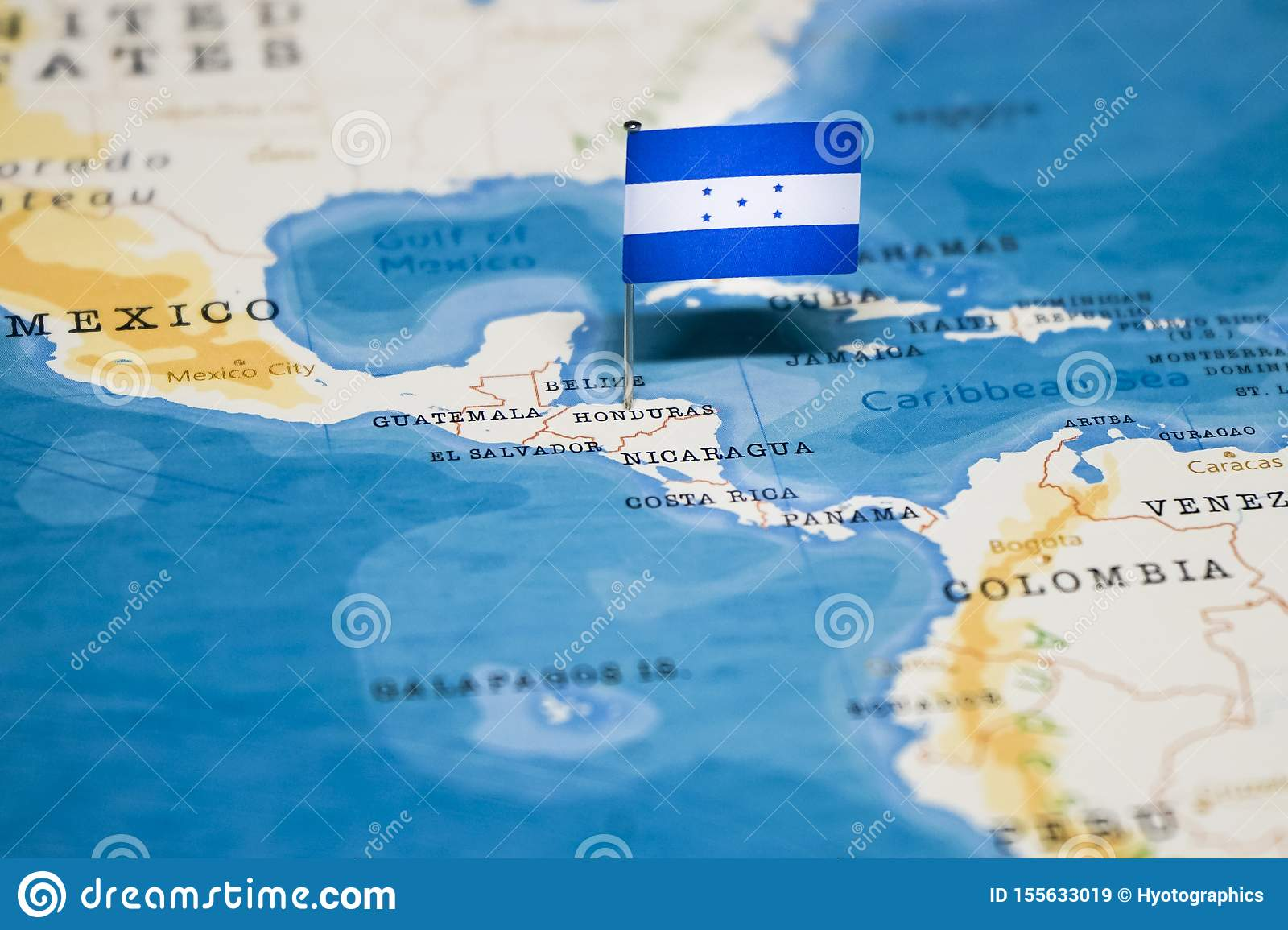 Picture of: The Flag Of Honduras In The World Map Stock Image Image Of Countries Holiday 155633019