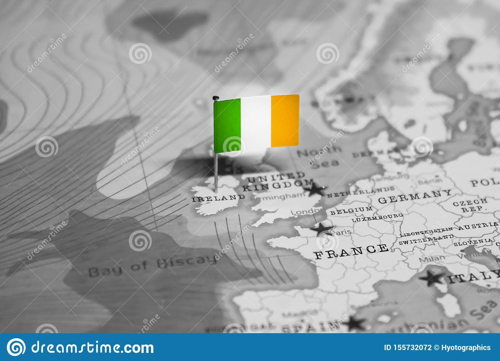 The Flag Of Ireland In The World Map Stock Photo - Image of ...