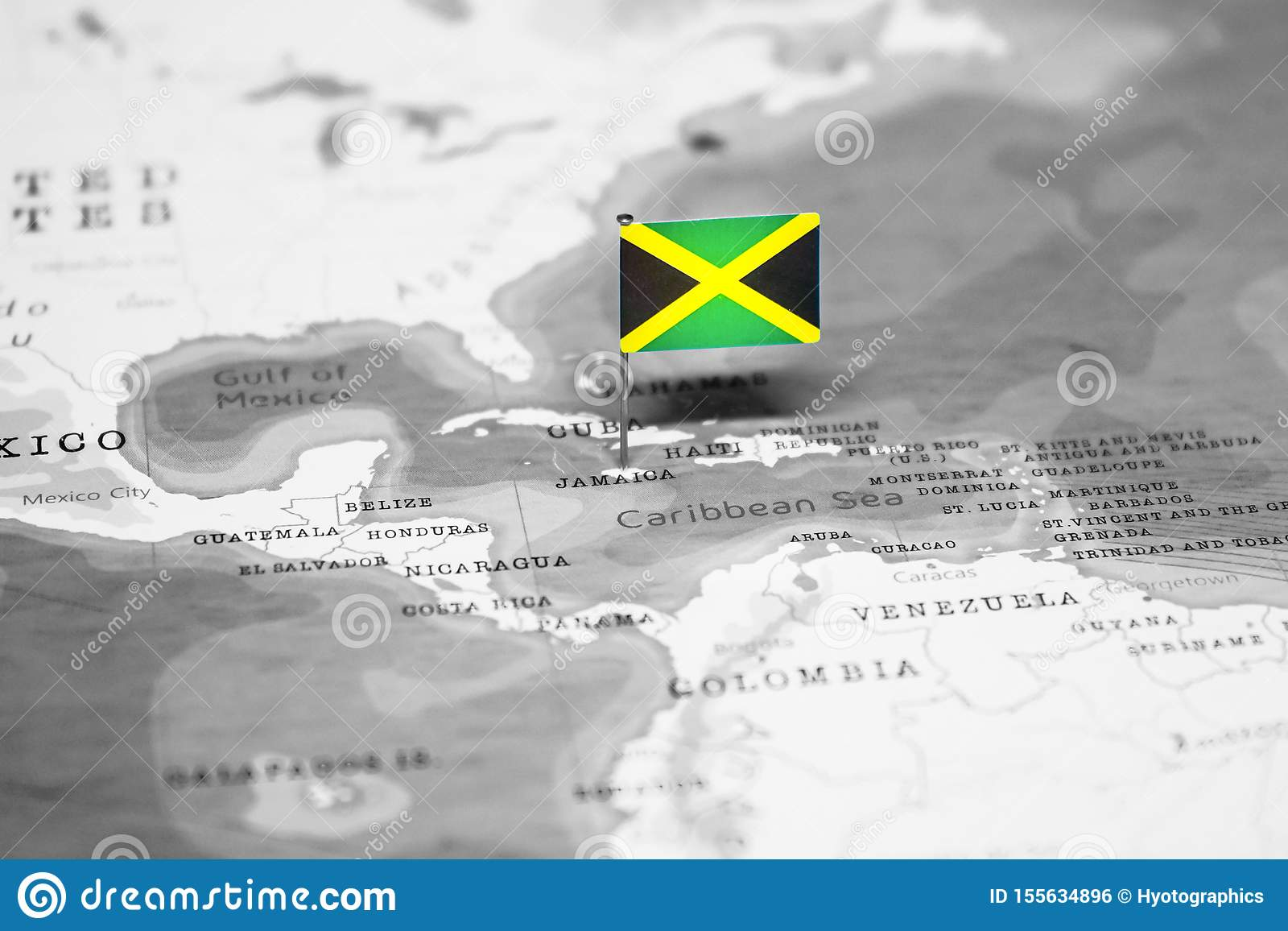 The Flag Of Jamaica In The World Map Stock Photo - Image of ...