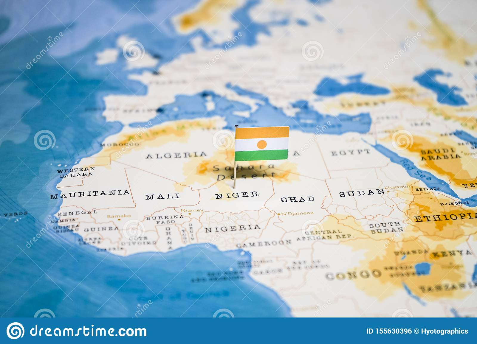 Picture of: The Flag Of Niger In The World Map Stock Photo Image Of Land Nation 155630396