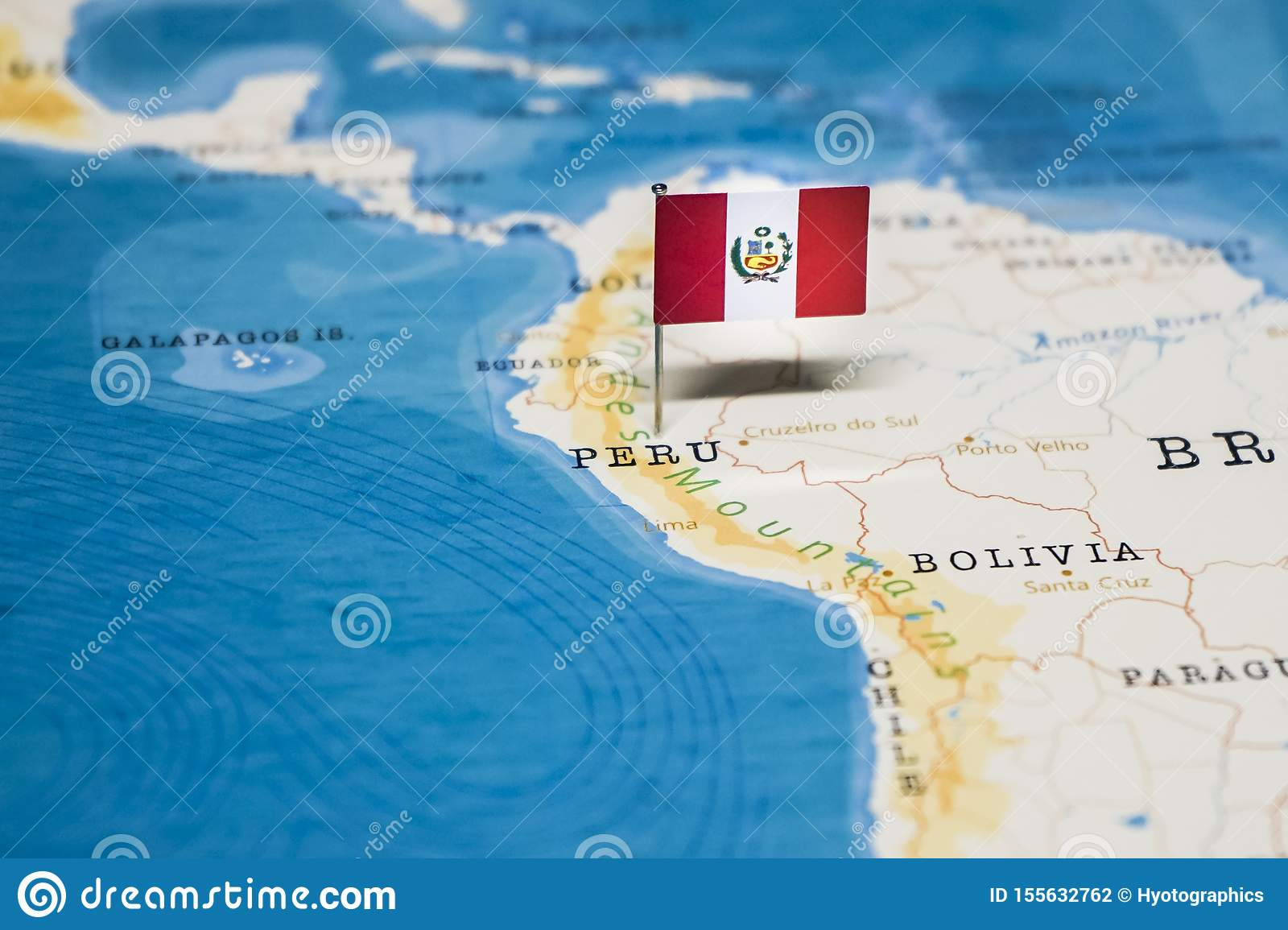 The Flag of Peru in the World Map