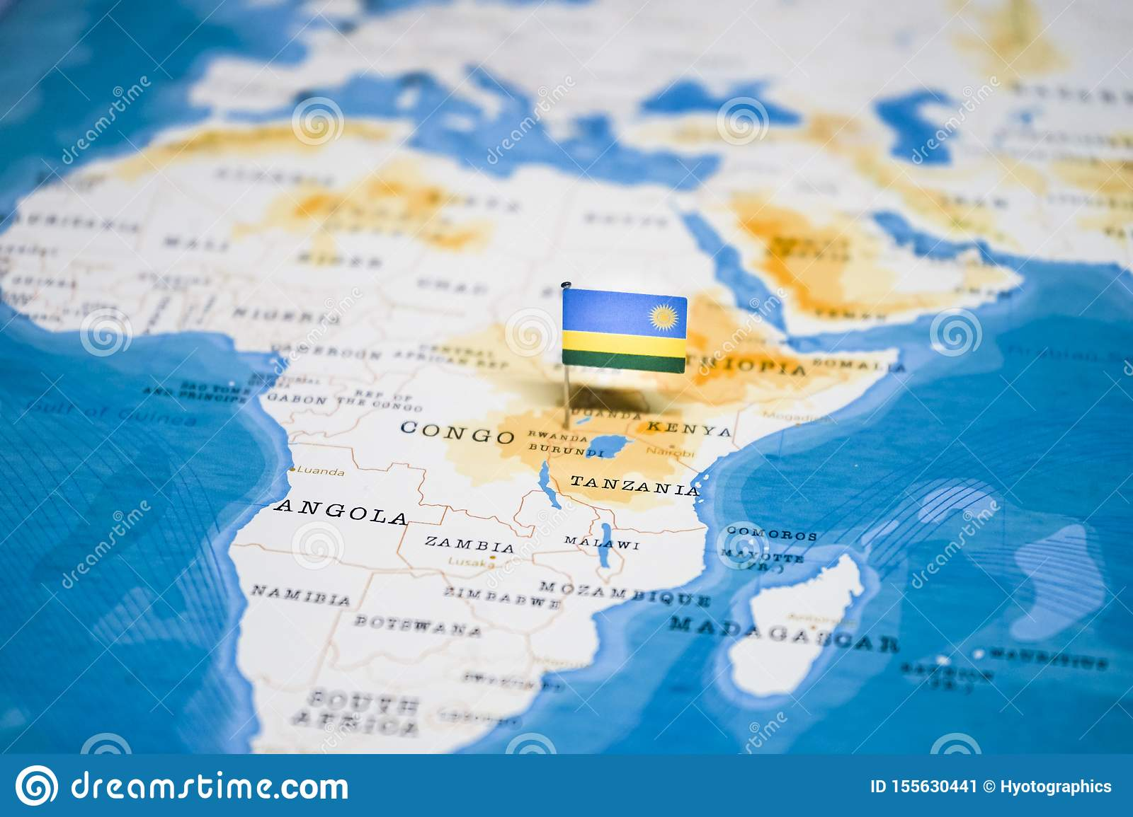 Image of: The Flag Of Rwanda In The World Map Stock Image Image Of International Arrival 155630441