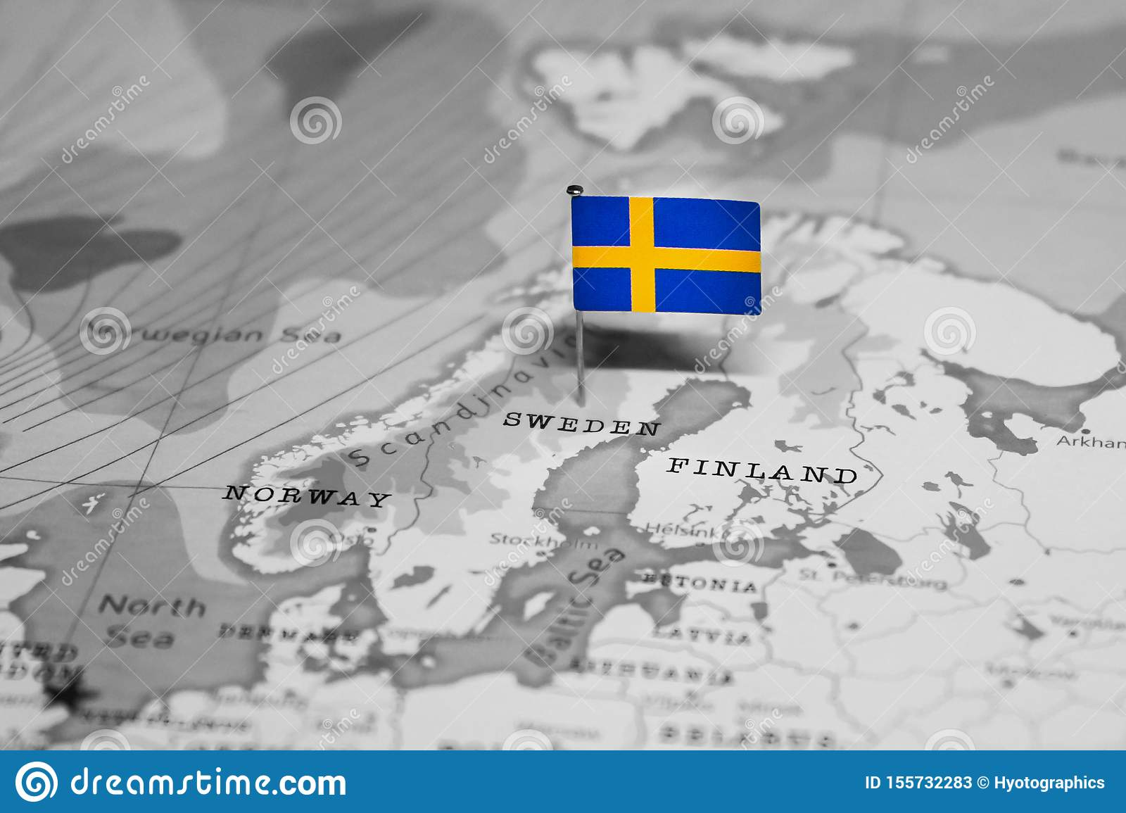 The Flag Of Sweden In The World Map Stock Image - Image of ...