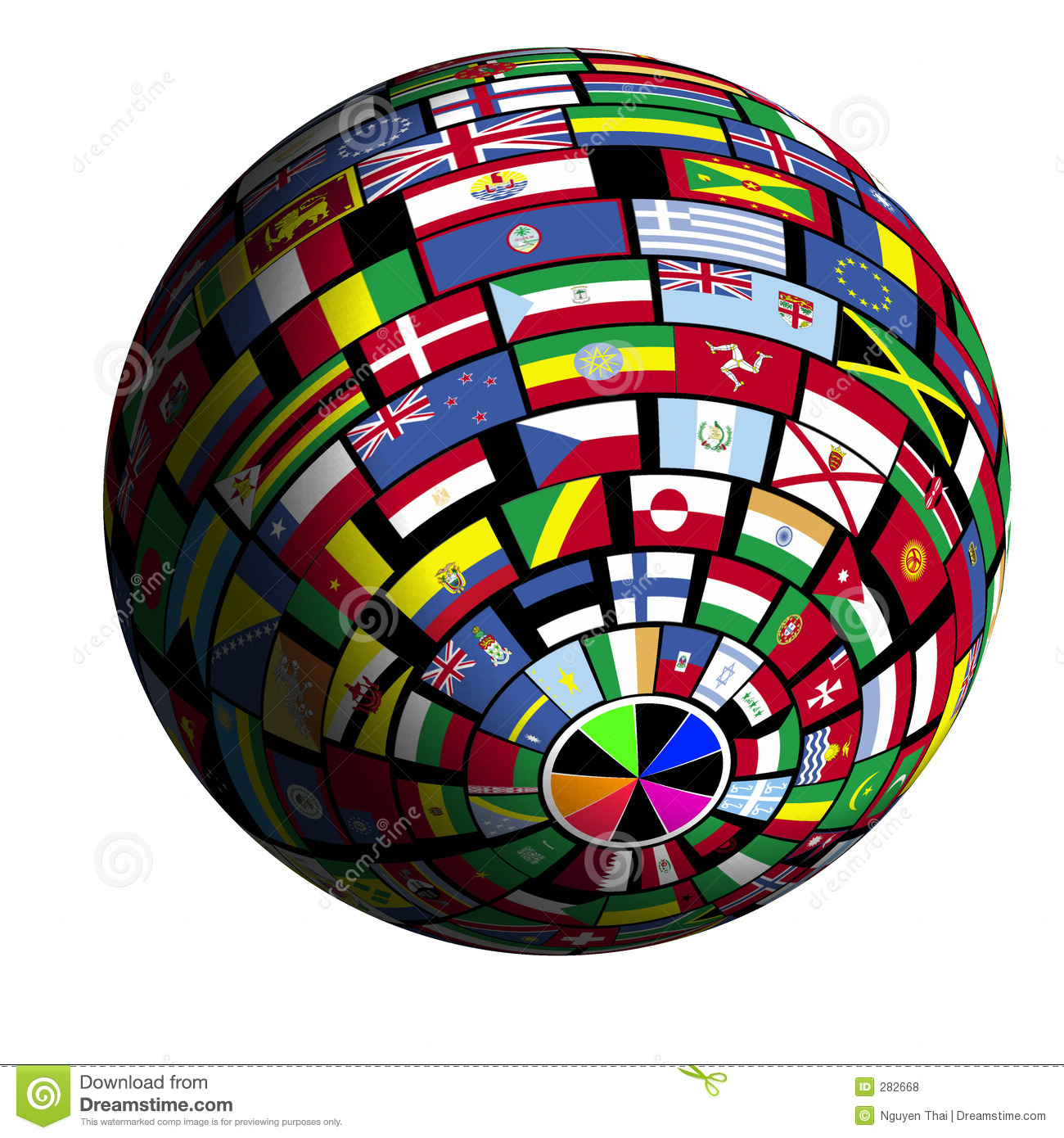 Flag-covered Earth - Polar4 View Royalty Free Stock Photos - Image ...