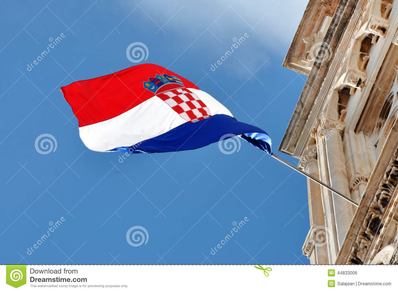 Wind Blowing On Building : The flag of croatia stock photo image