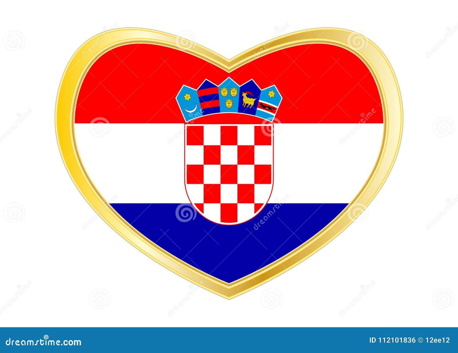 Flag Of Croatia In Heart Shape Golden Frame Stock Vector