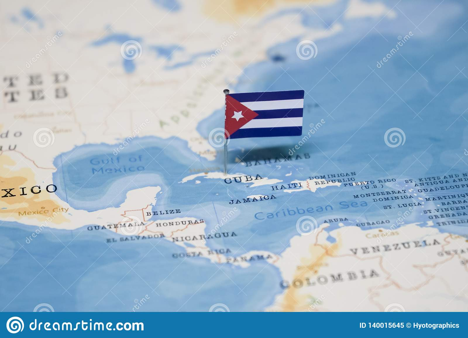 The Flag Of Cuba In The World Map Stock Image - Image of ...